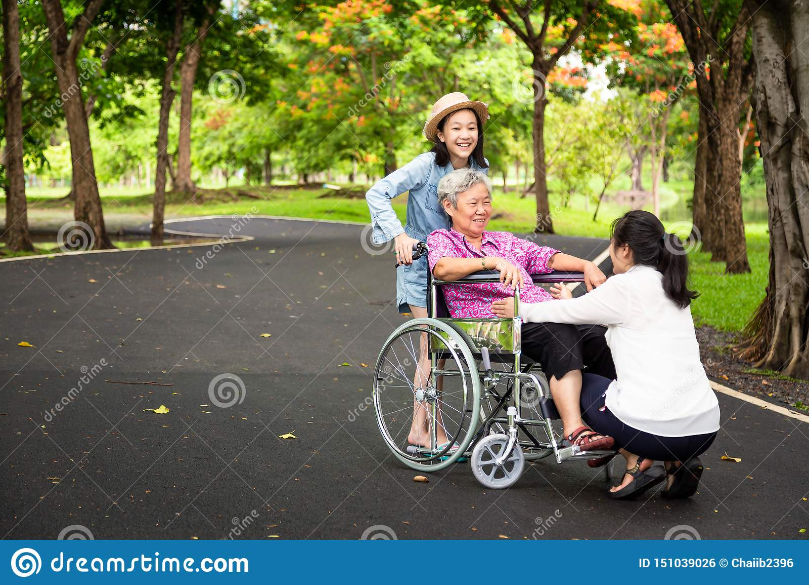 La donna senior asiatica in sedia a rotelle con poca ragazza del bambino che sostiene, gode di sulla camminata della natura verde