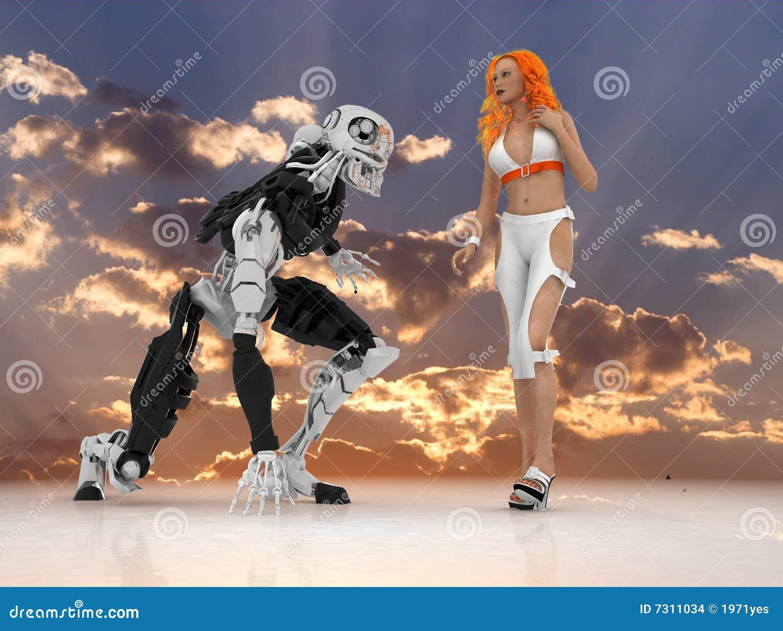 La donna sessuale con il cyborg