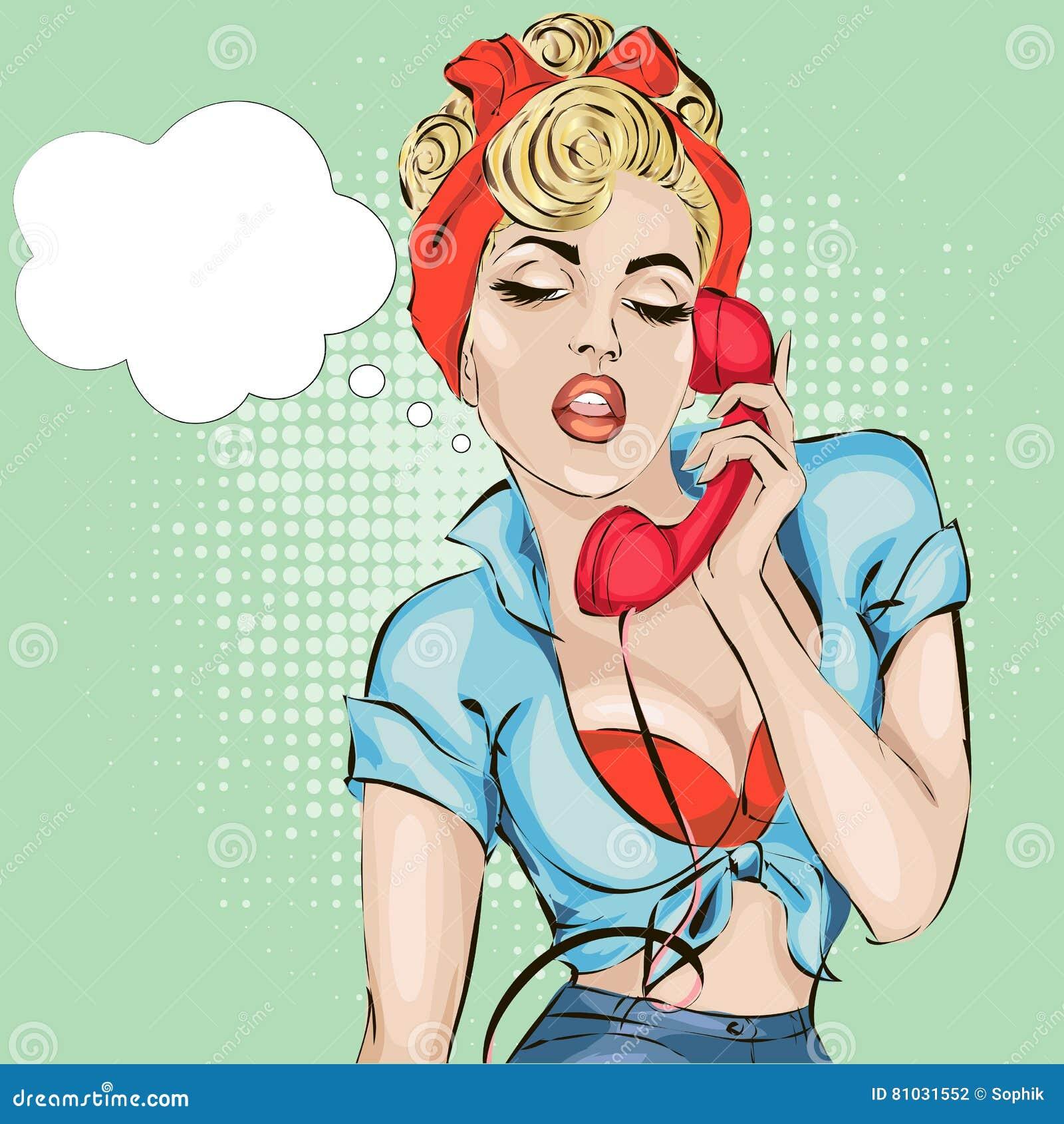 La donna sexy di pin-up risponde al telefono Illustrazione di stile dei fumetti di Pop art di vettore retro
