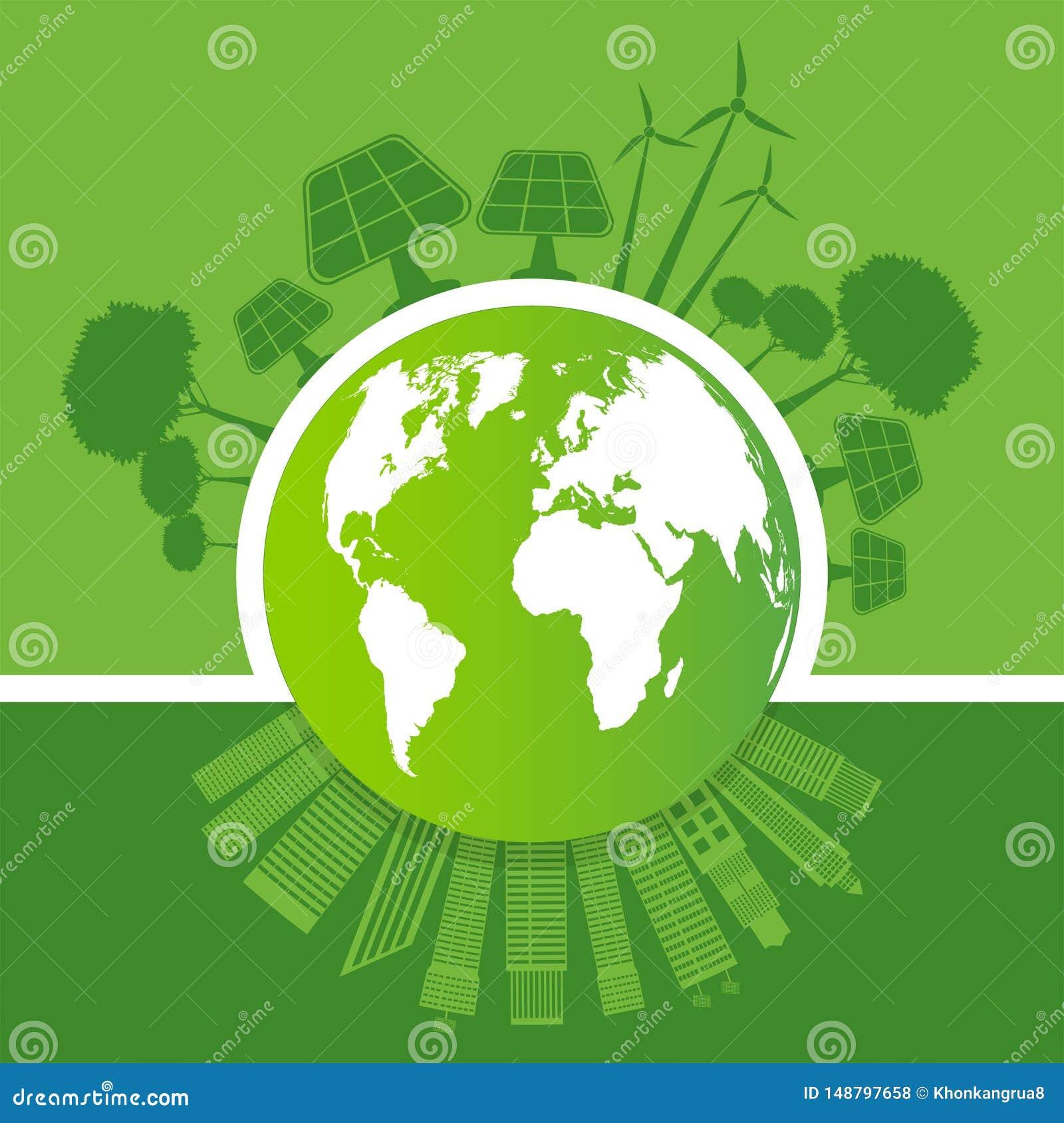 La ecolog?a y el concepto ambiental, s?mbolo de la tierra con las hojas verdes alrededor de ciudades ayudan al mundo con ideas re