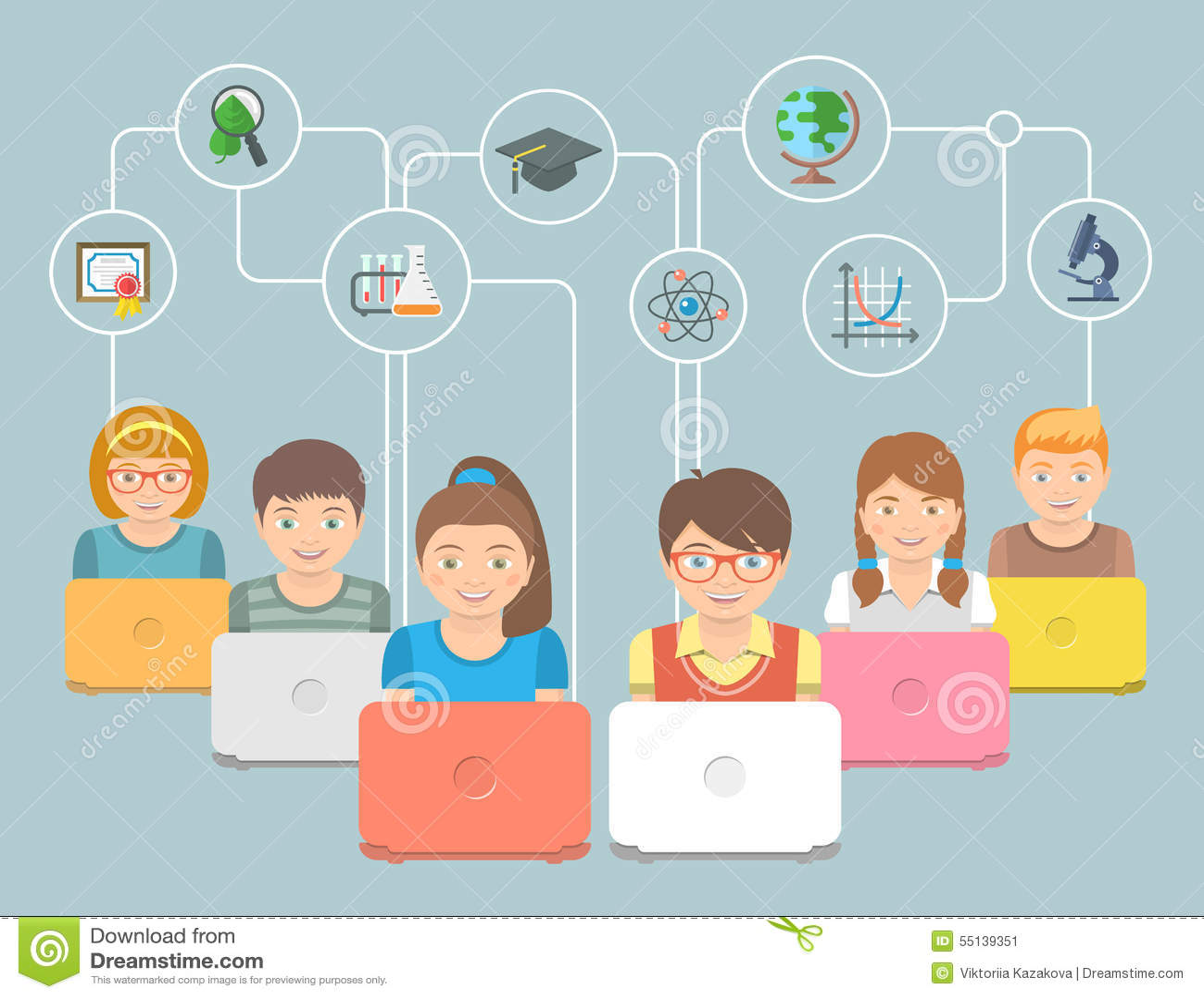La educación en línea embroma el ejemplo conceptual plano