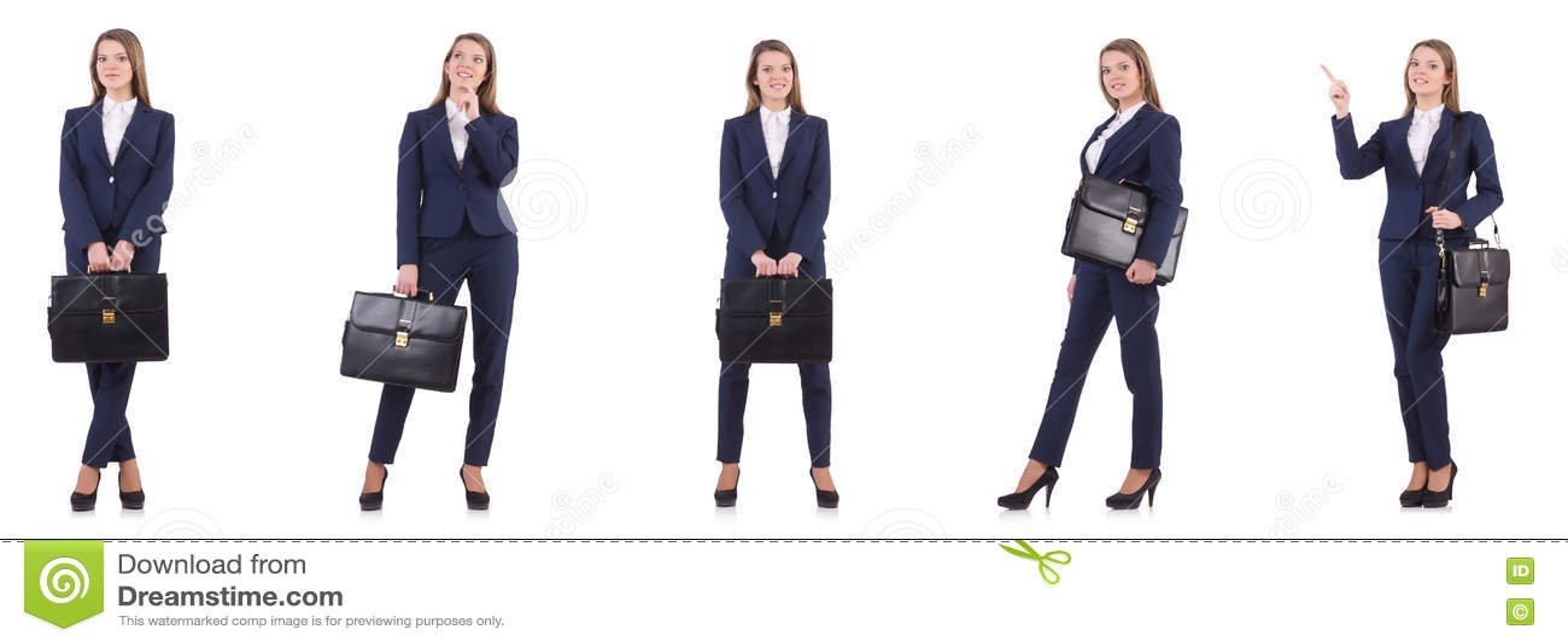 La empresaria en el traje aislado en blanco