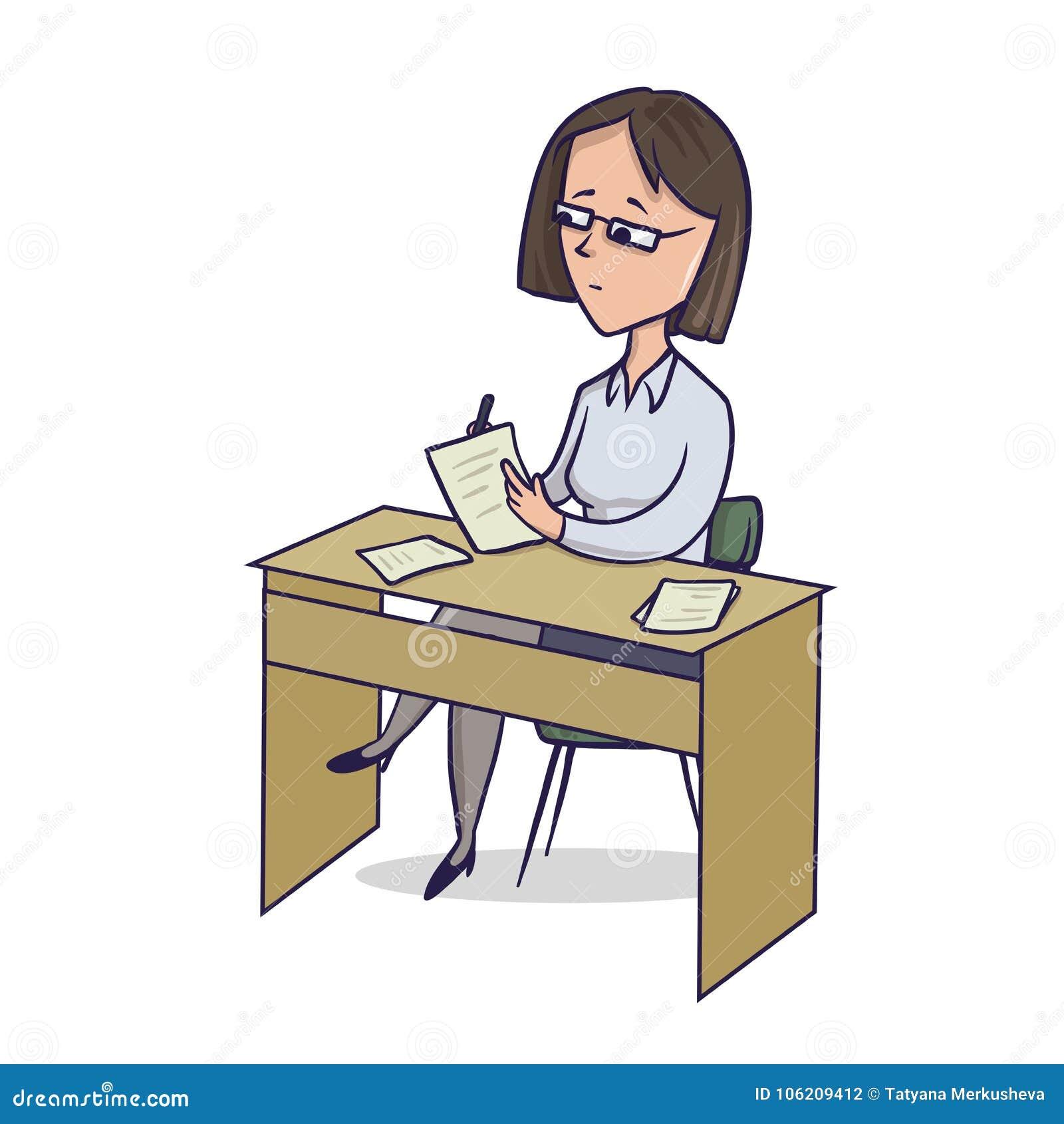 La empresaria se sienta por las notas de la escritura de la tabla La mujer hace notas en el escritorio Ejemplo del vector del per