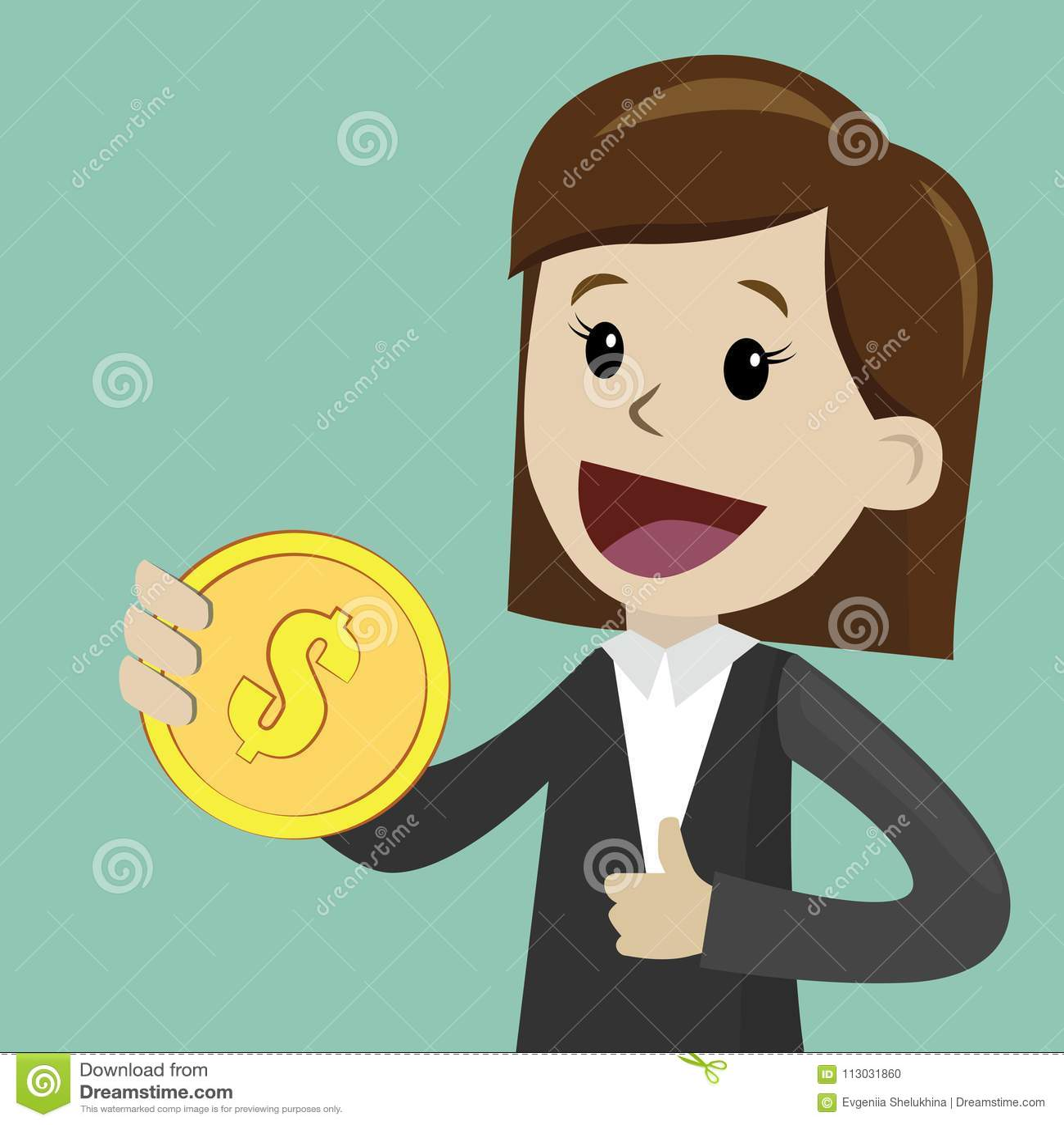 La empresaria sostiene la moneda en su mano y tiene beneficio Negocio de Succsessful pagos