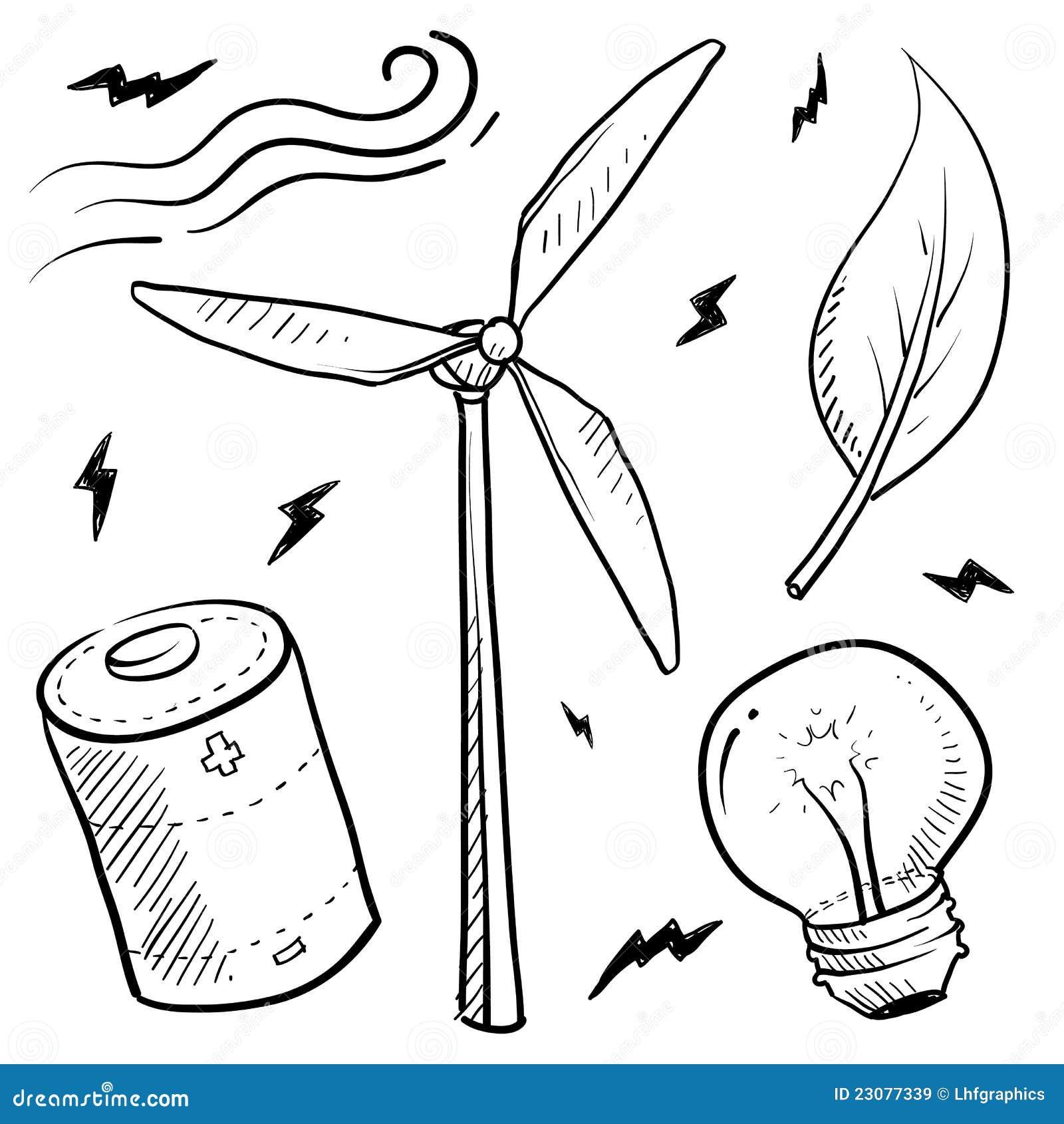 La Energía Eólica Se Opone Bosquejo Ilustración del Vector ...