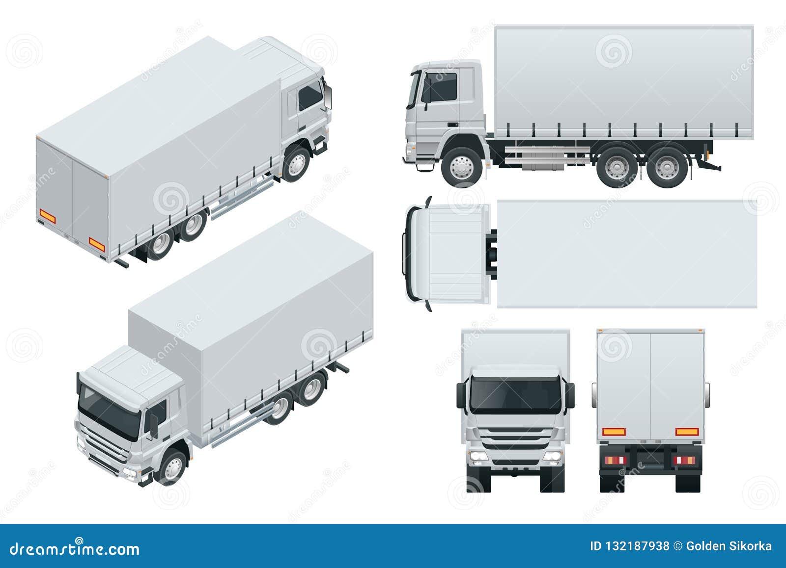 La entrega del camión, maqueta del camión aisló la plantilla en el fondo blanco Visión isométrica, lateral, delantera, trasera, s