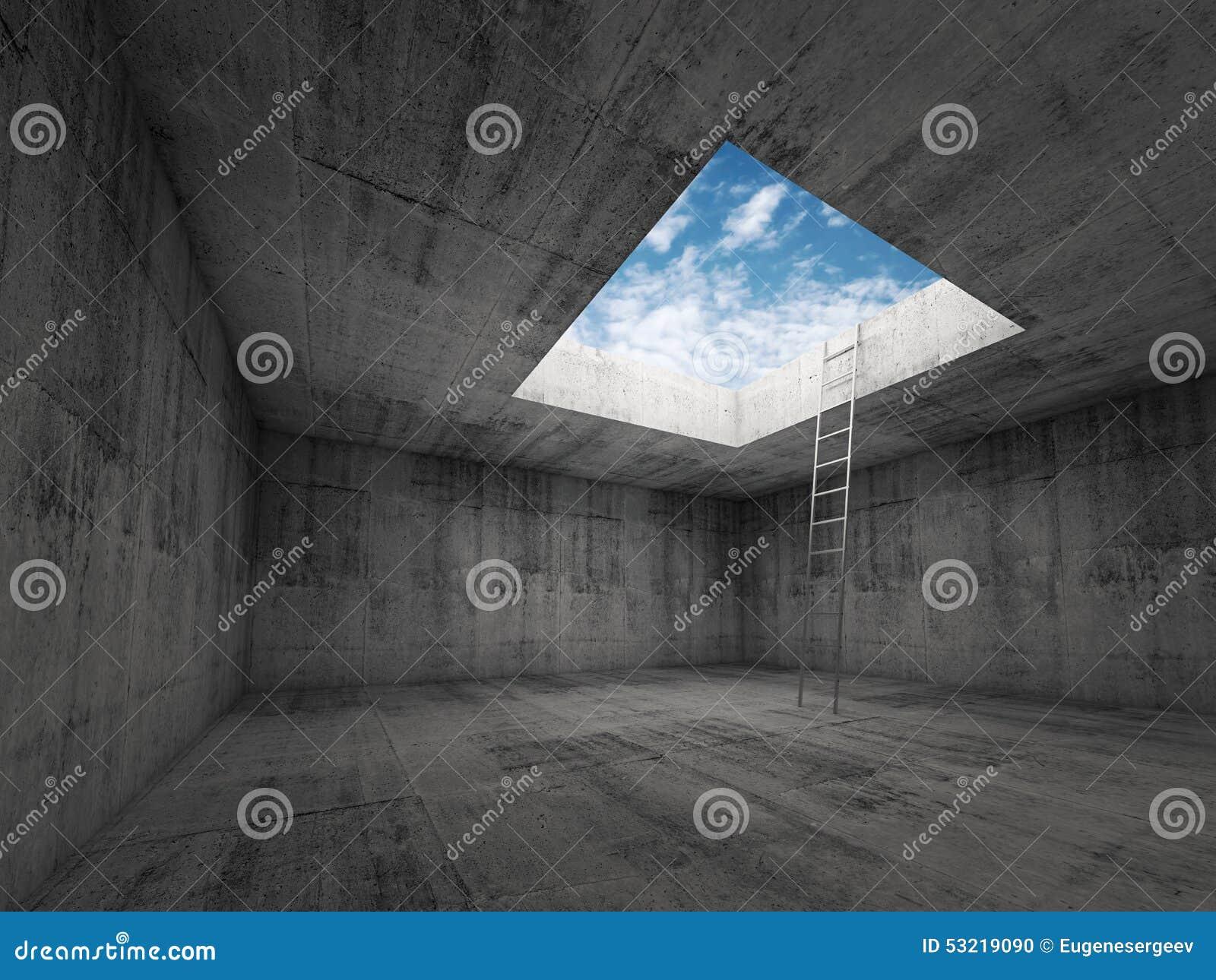 La escalera va al cielo hacia fuera del interior del sitio oscuro, 3d