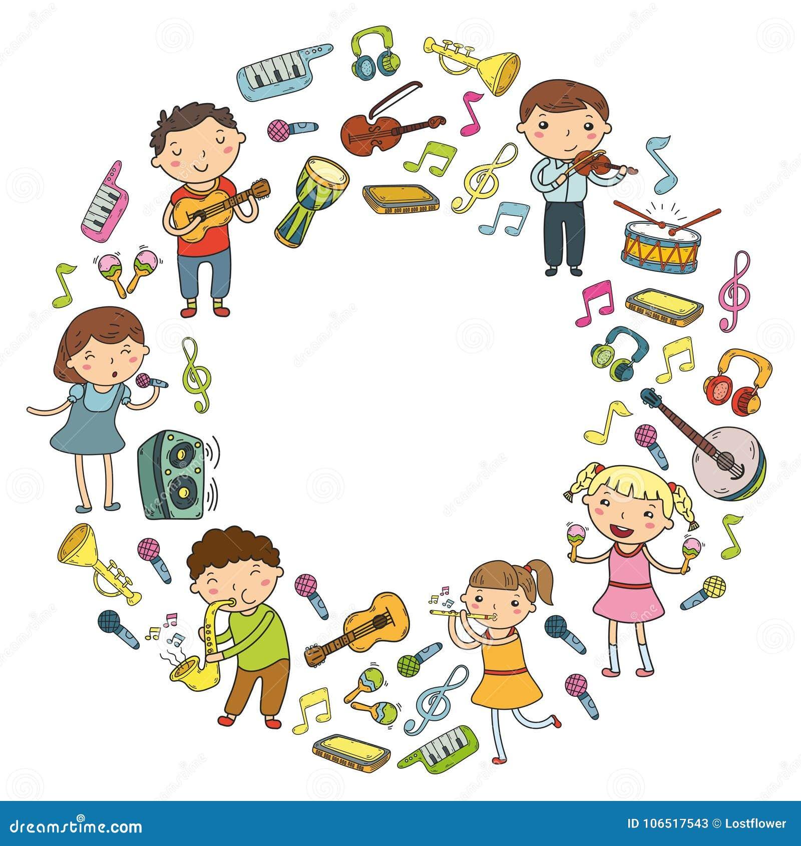 La Escuela De Música Para Los Niños Vector A Los Niños Del Ejemplo ...