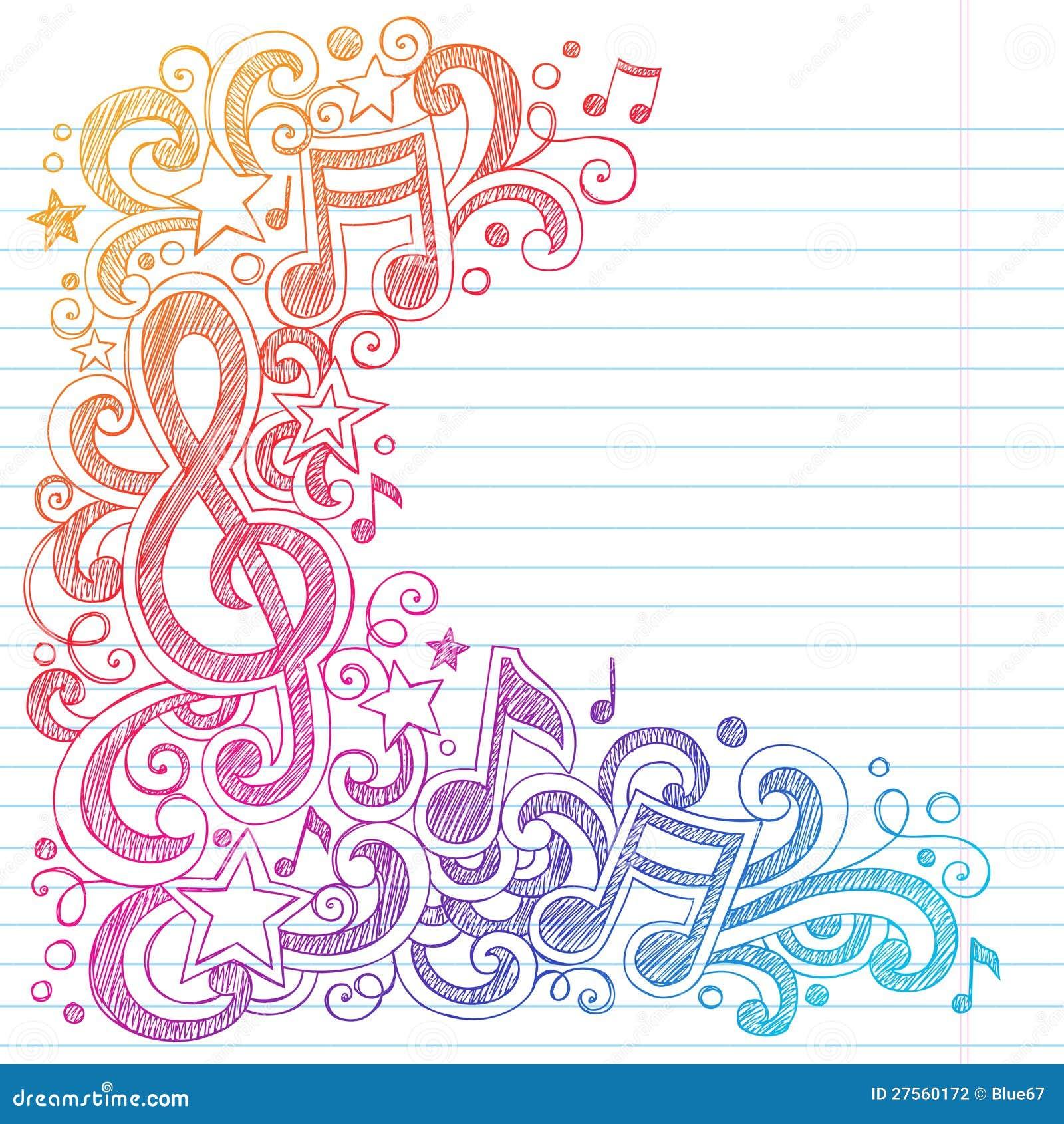 La escuela incompleta de las notas de la música garabatea el vector Illustra