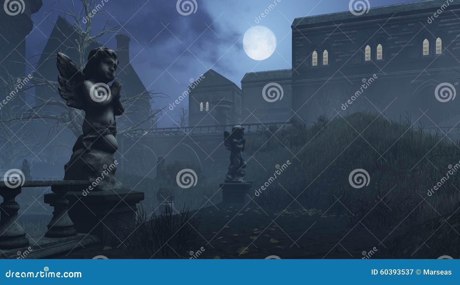 La escultura del cupido en parque abandonado debajo de la Luna Llena