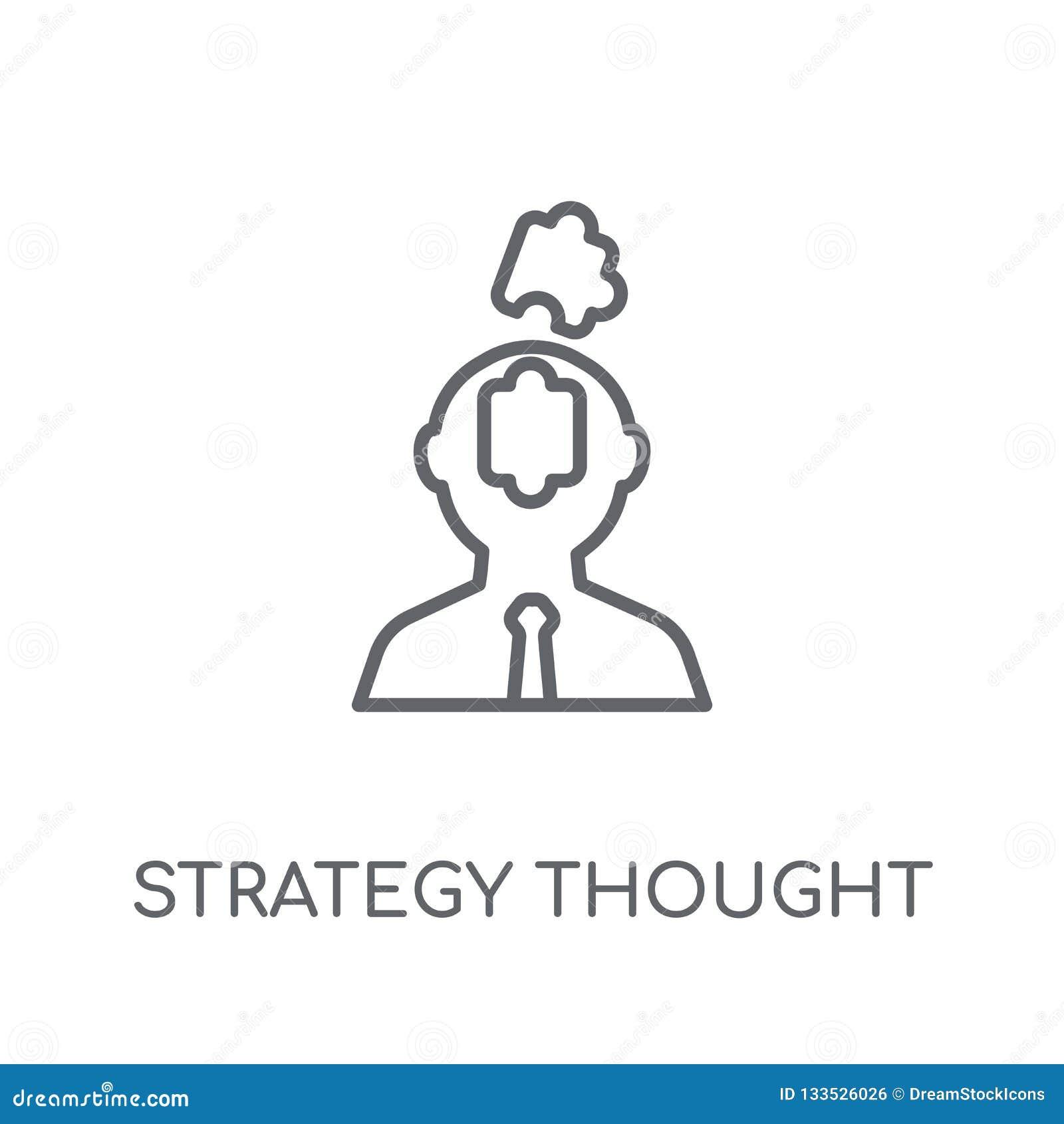 La estrategia pensó el icono linear Lo moderno del pensamiento de la estrategia del esquema
