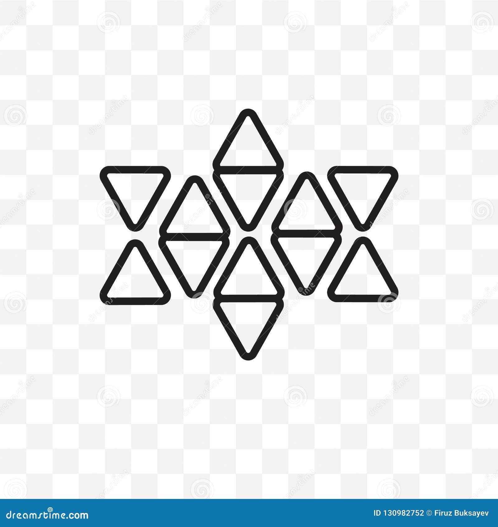 La estrella de seis puntos del icono linear del vector aislado en el fondo transparente, estrella de seis puntos del concepto de