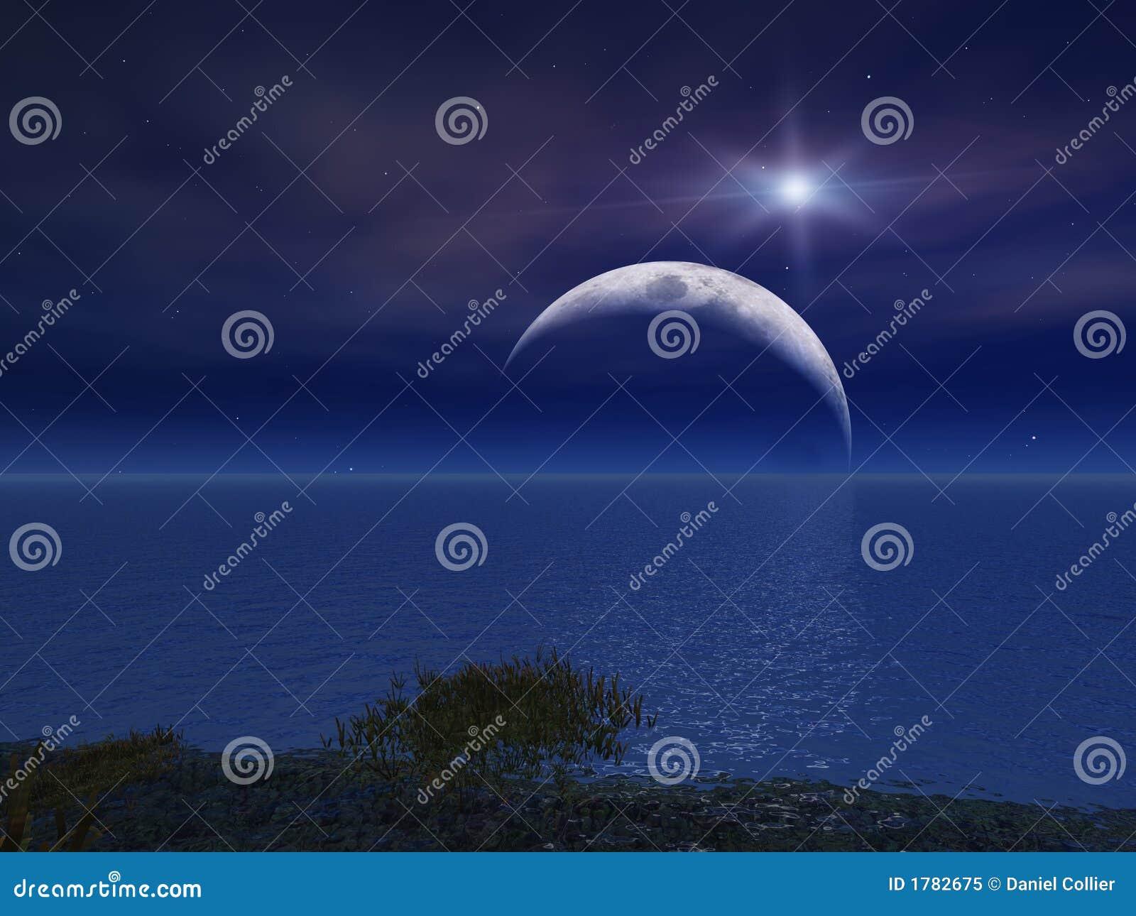 La estrella y la noche están en la luna sobre el mar