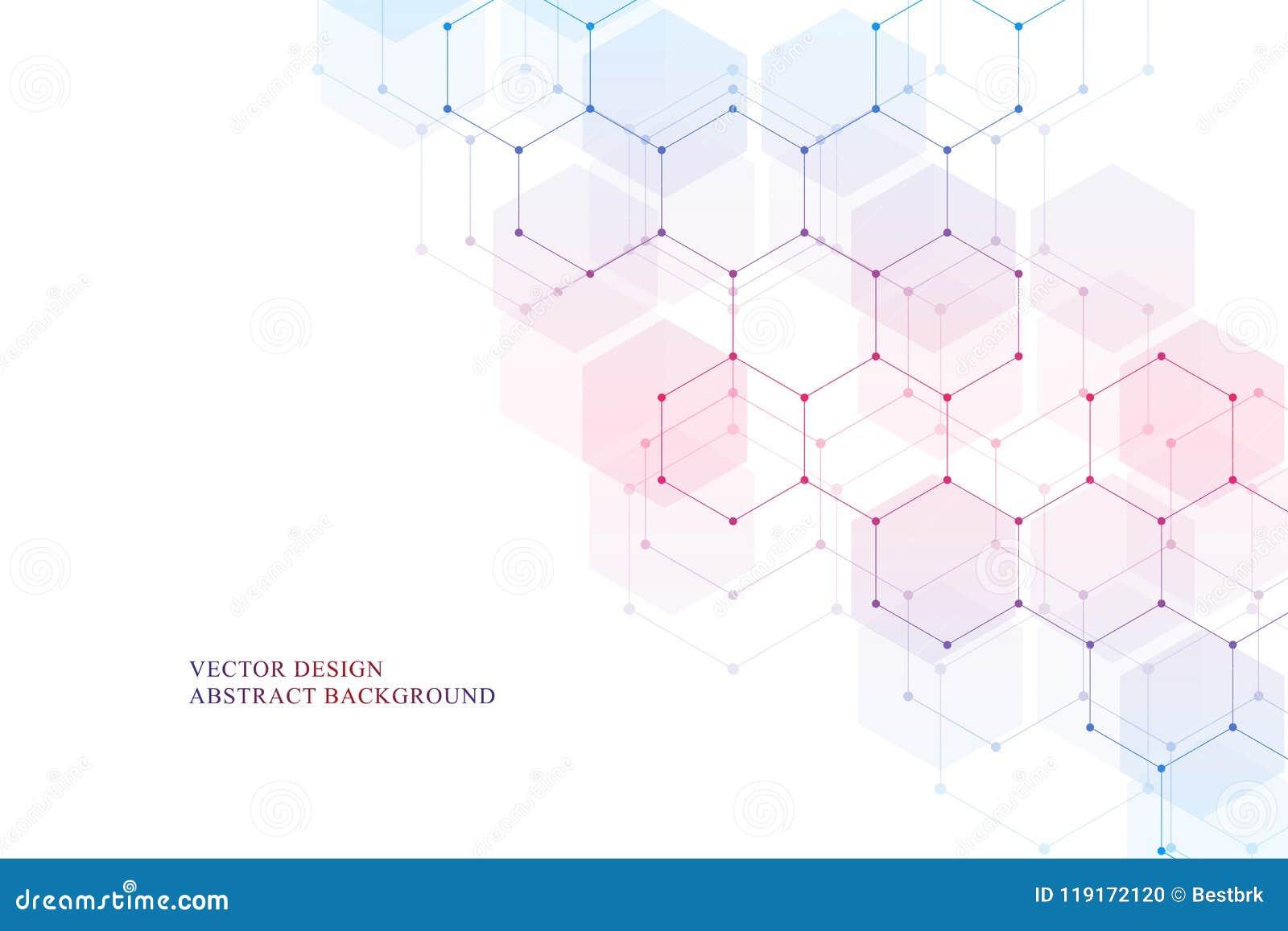 La estructura molecular hexagonal para médico, la ciencia y la tecnología digital diseñan Fondo geométrico abstracto del vector