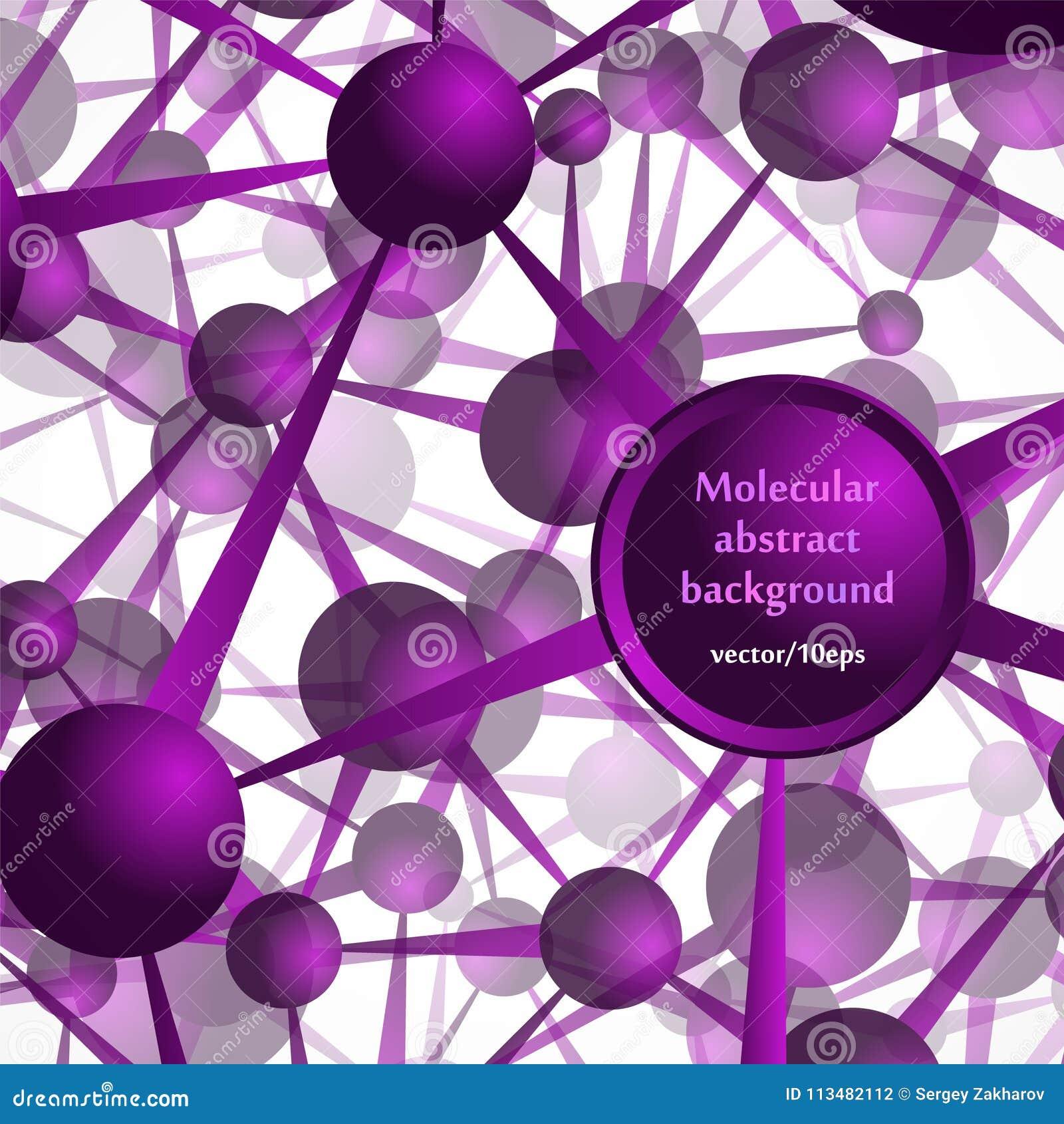 La estructura molecular, los átomos Fondo abstracto en tonos púrpuras