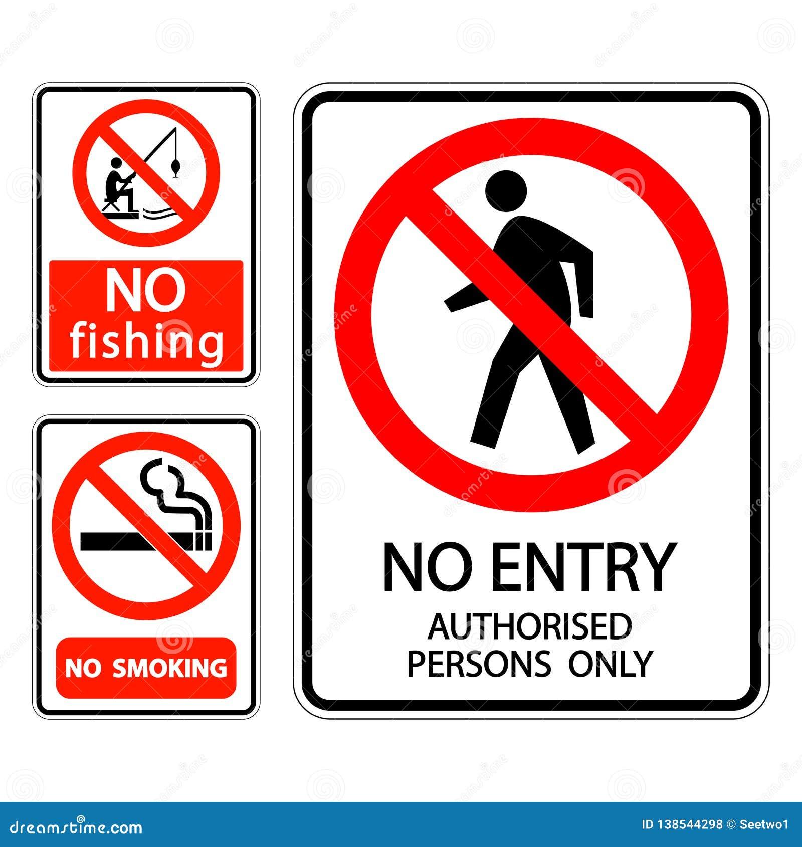 La etiqueta de no fumadores, ninguna pesca de la muestra del sistema de símbolo, ninguna entrada autorizó a personas solamente