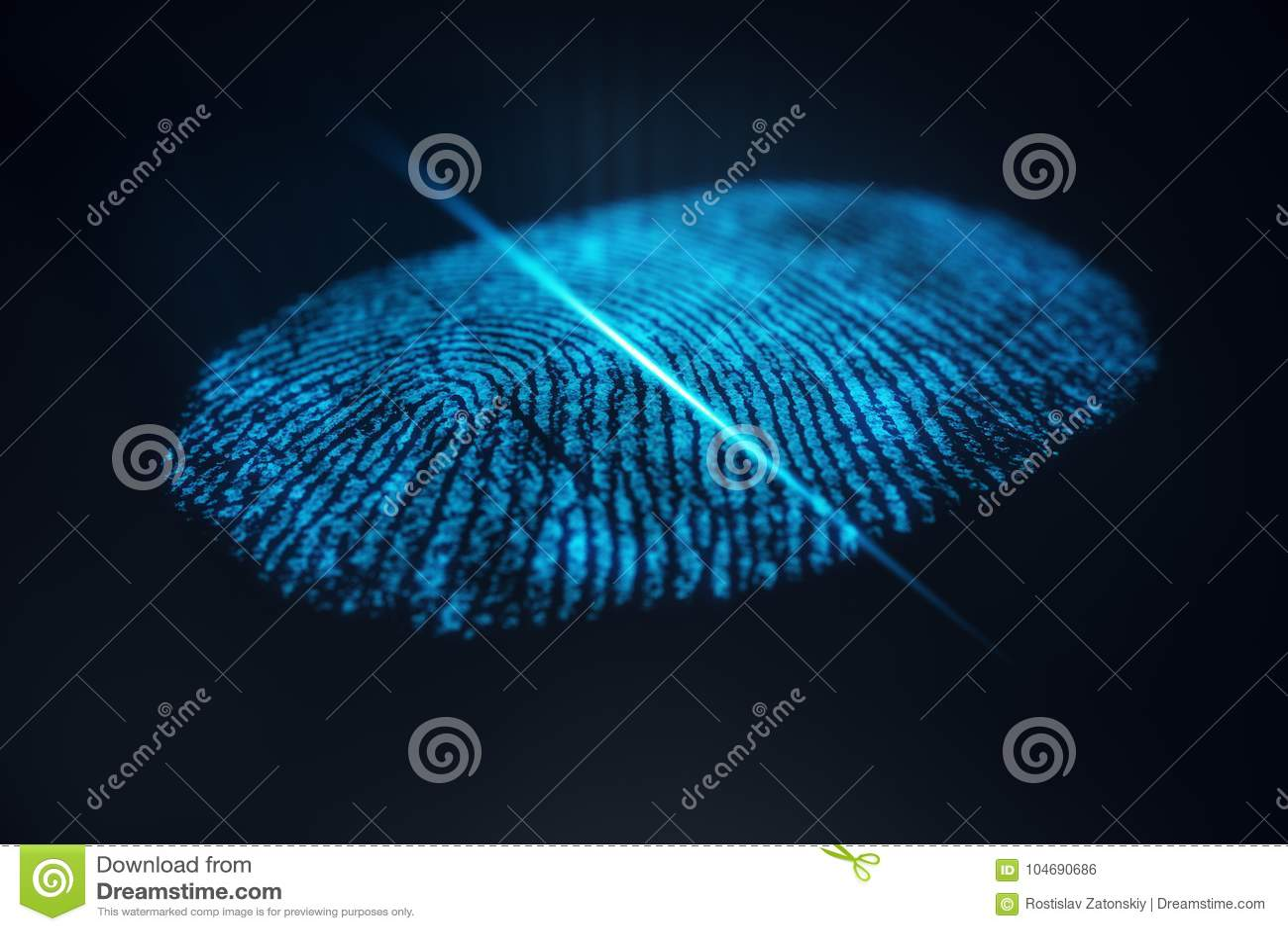 La exploración de la huella dactilar del ejemplo 3D provee del acceso de la seguridad la identificación de la biométrica Protecci