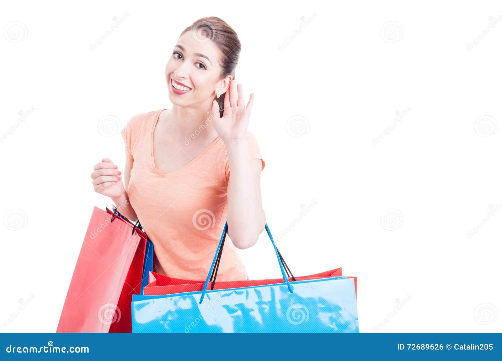 La fabbricazione del cliente della giovane donna non può sentirvi gesture