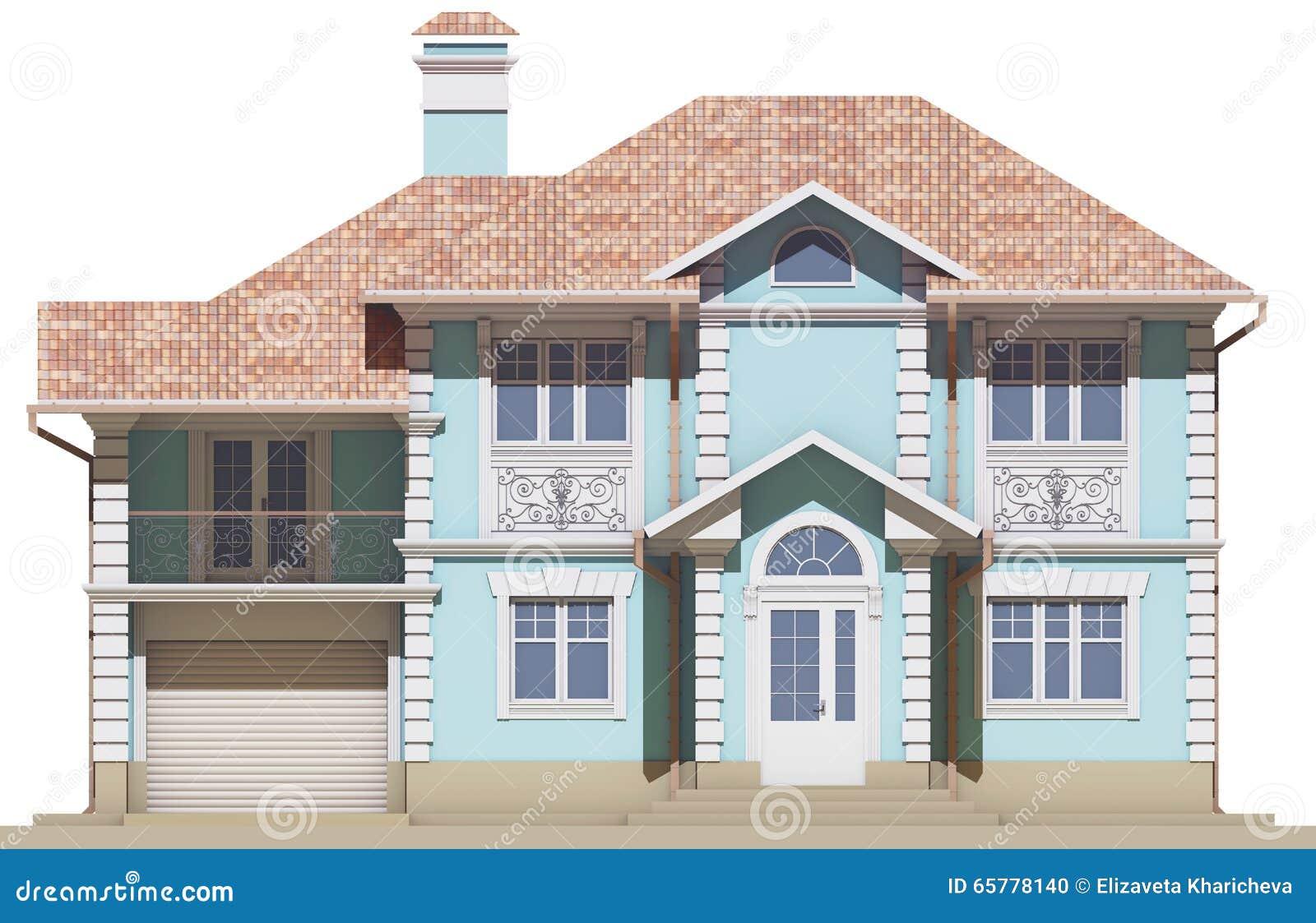La facciata di un cottage in uno stile classico for Architettura in stile cottage