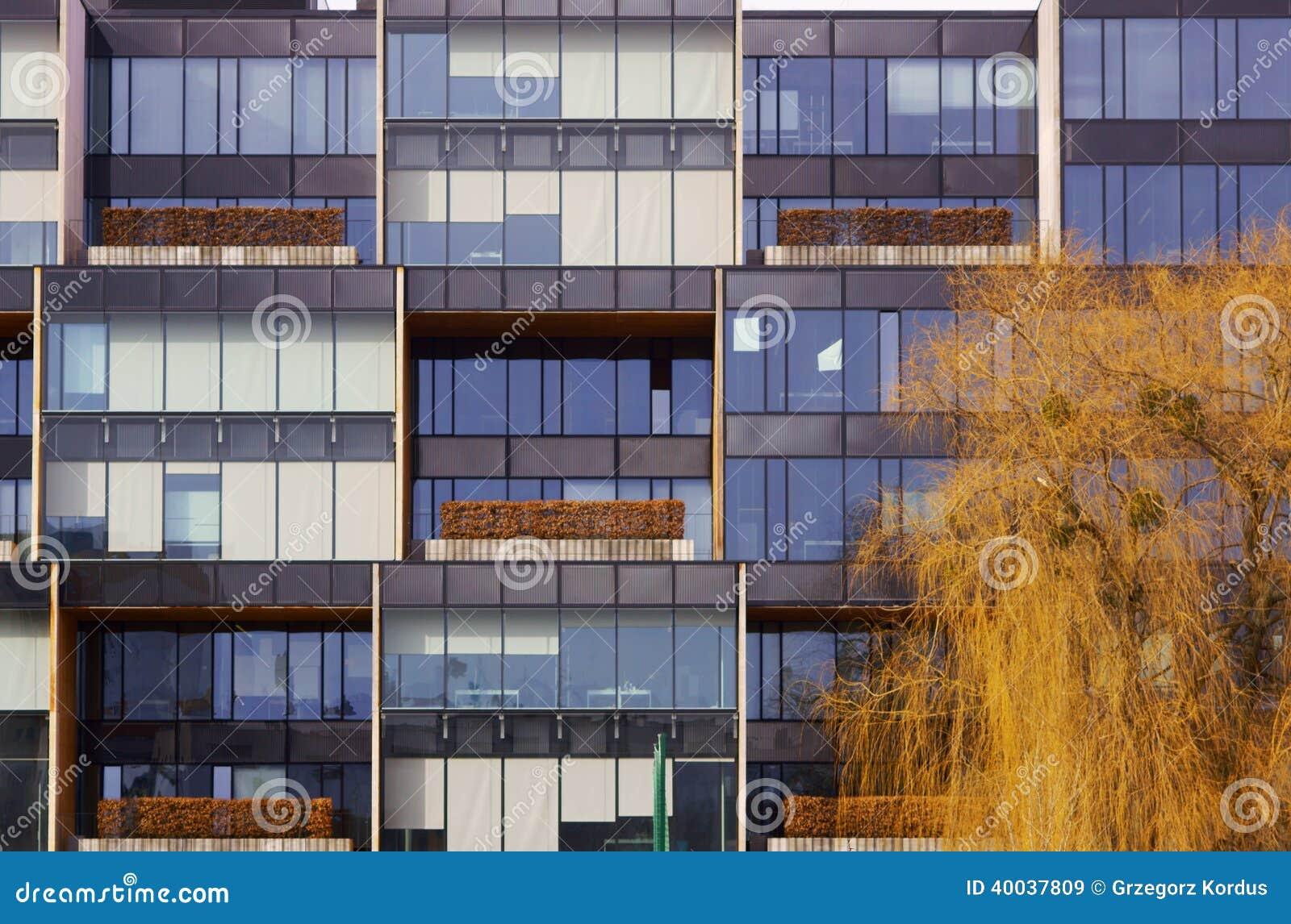 La fachada de cristal de las ramas del edificio y de rbol - Fachada de cristal ...