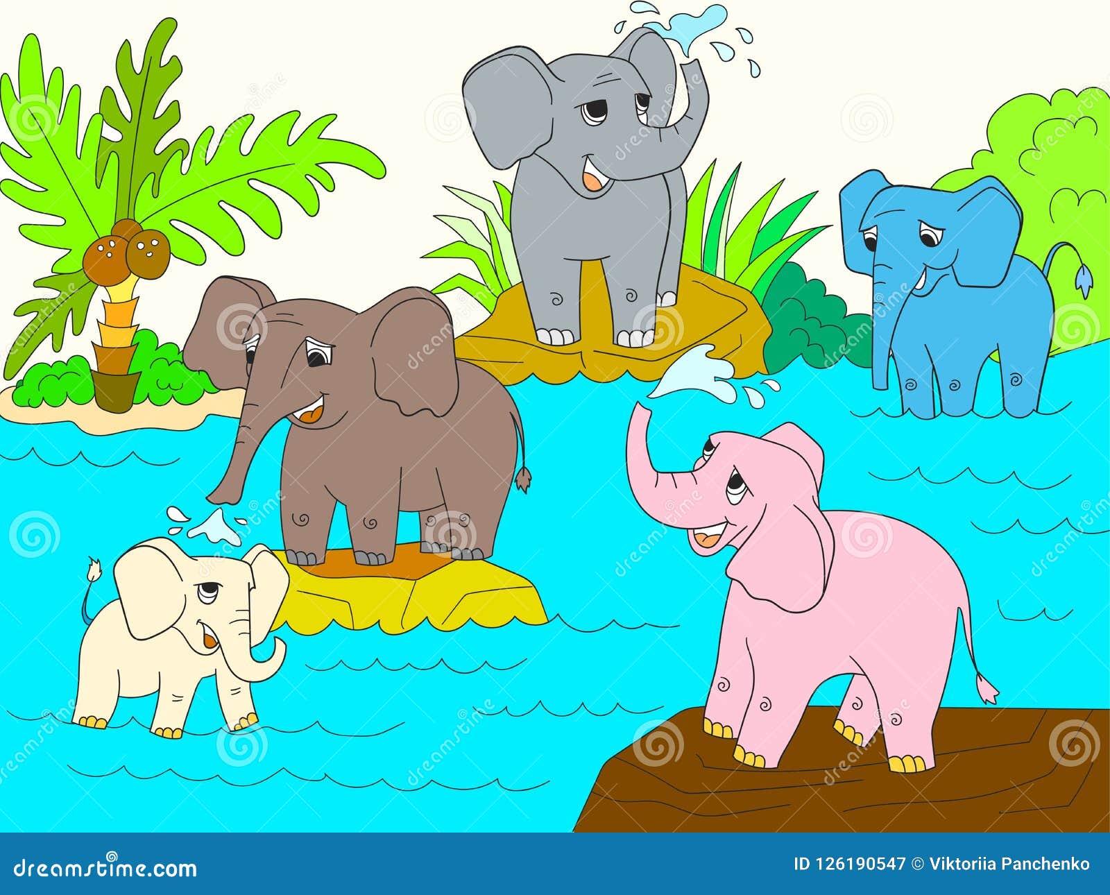 La Familia De Elefantes Africanos Colorea El Libro Para La Trama De