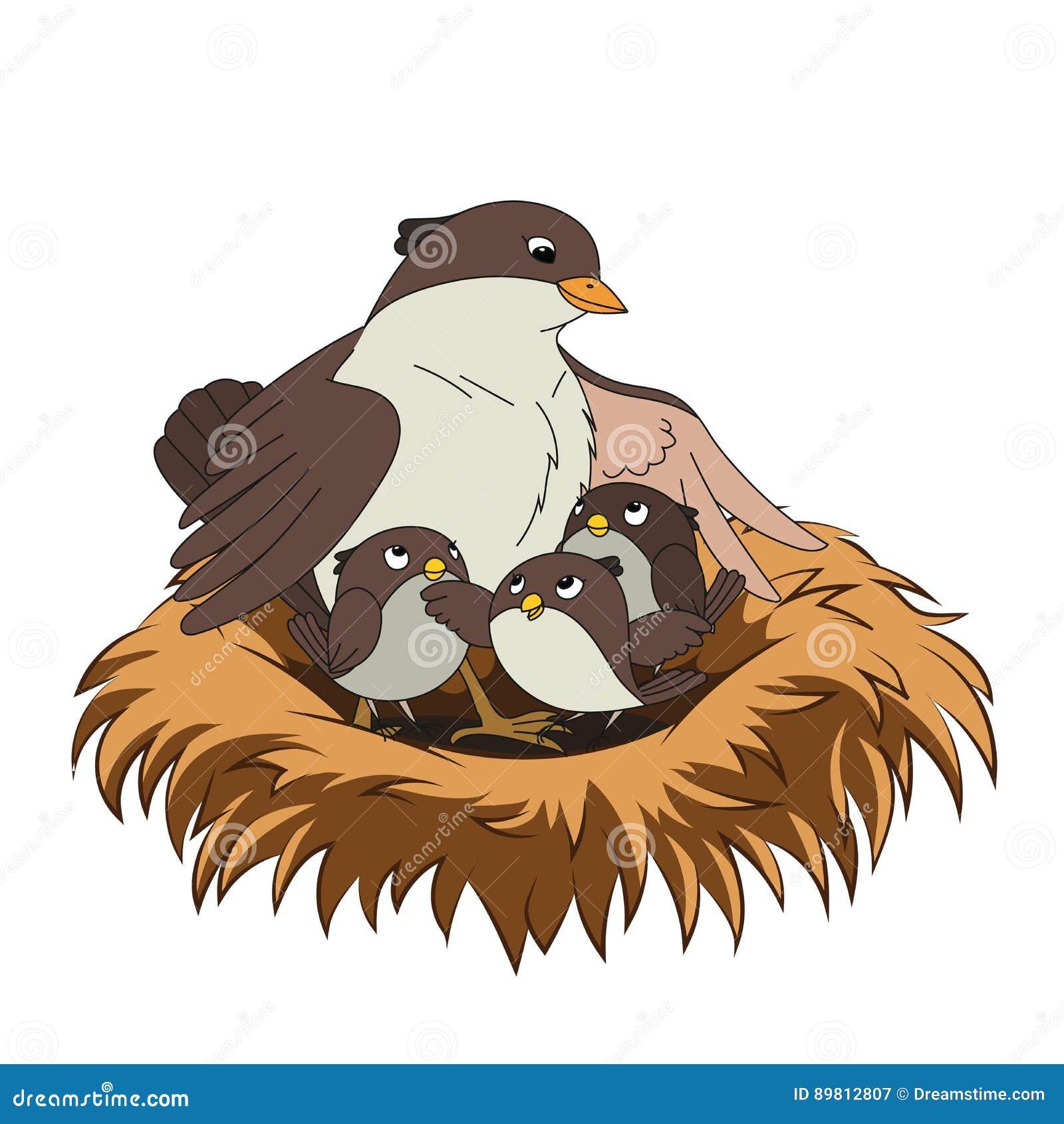 La familia de pájaros mima al pájaro con sus dos bebés en la jerarquía