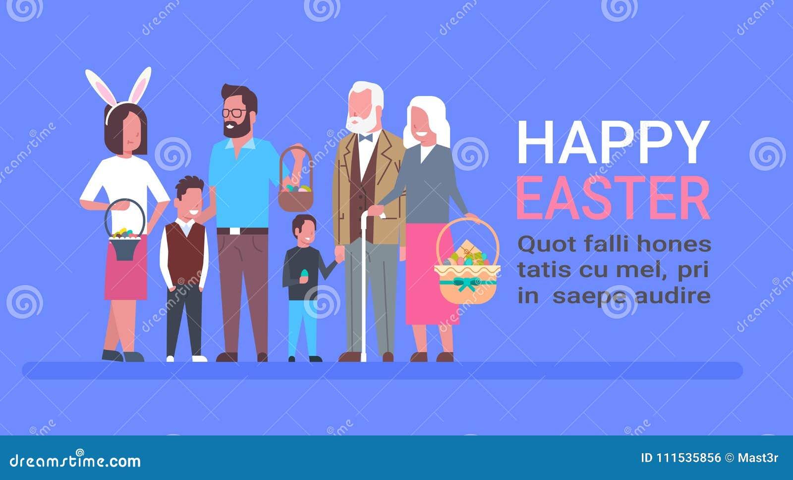 La Familia Grande Celebra El Cartel Feliz De La Plantilla De Pascua ...