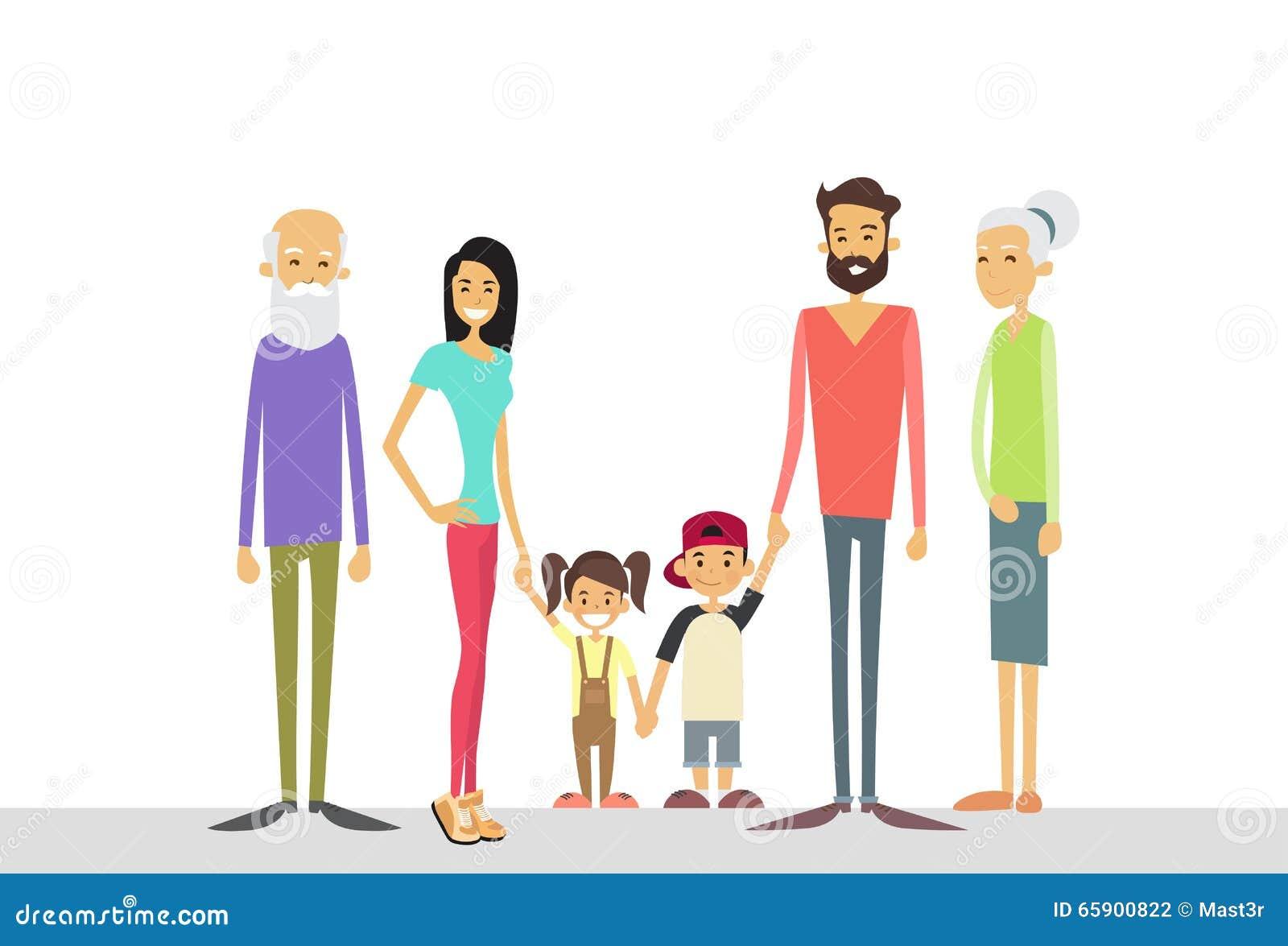 La familia grande embroma la generación de los abuelos de los padres