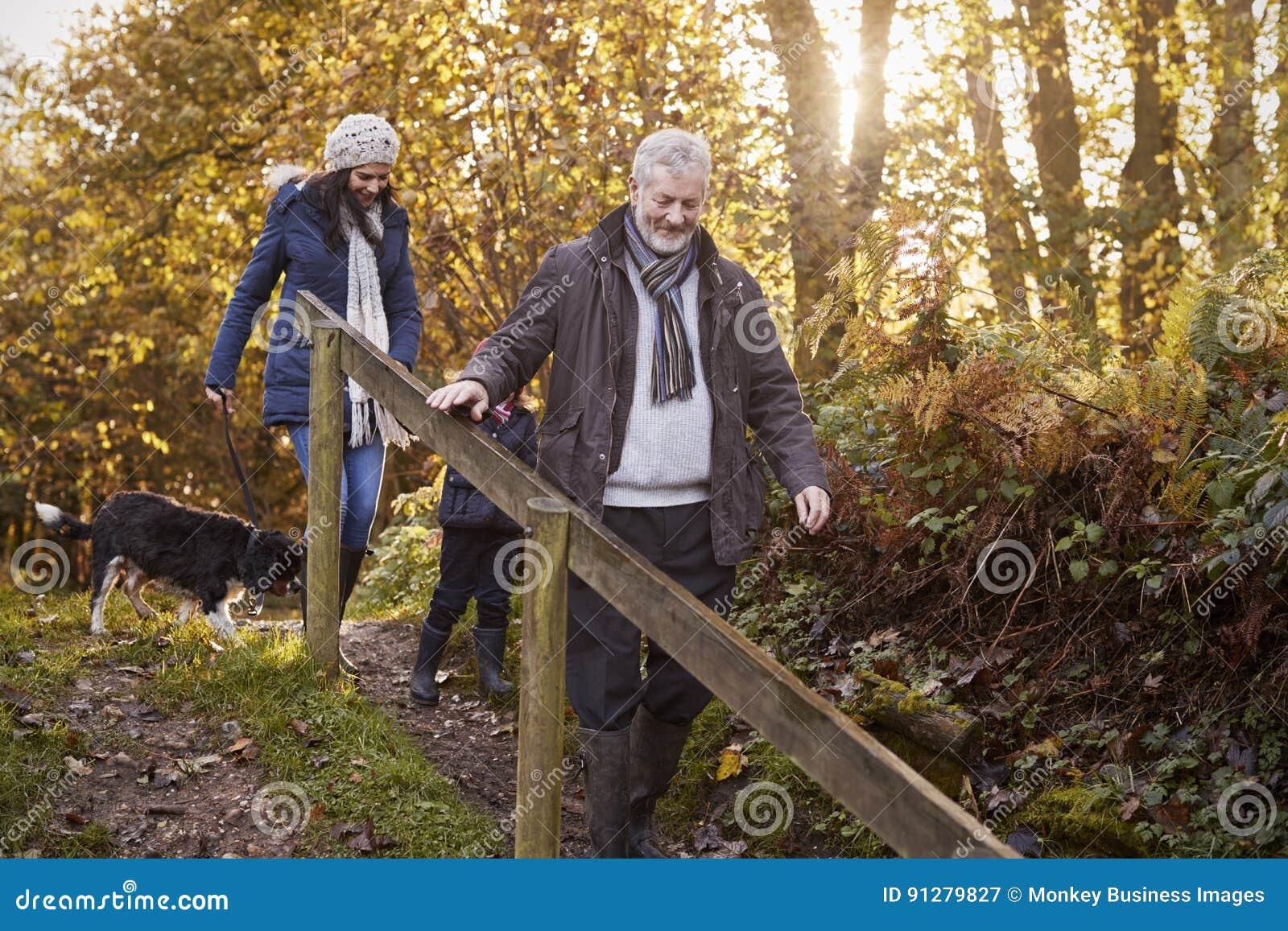 La familia multi de la generación toma el perro para el paseo en paisaje de la caída