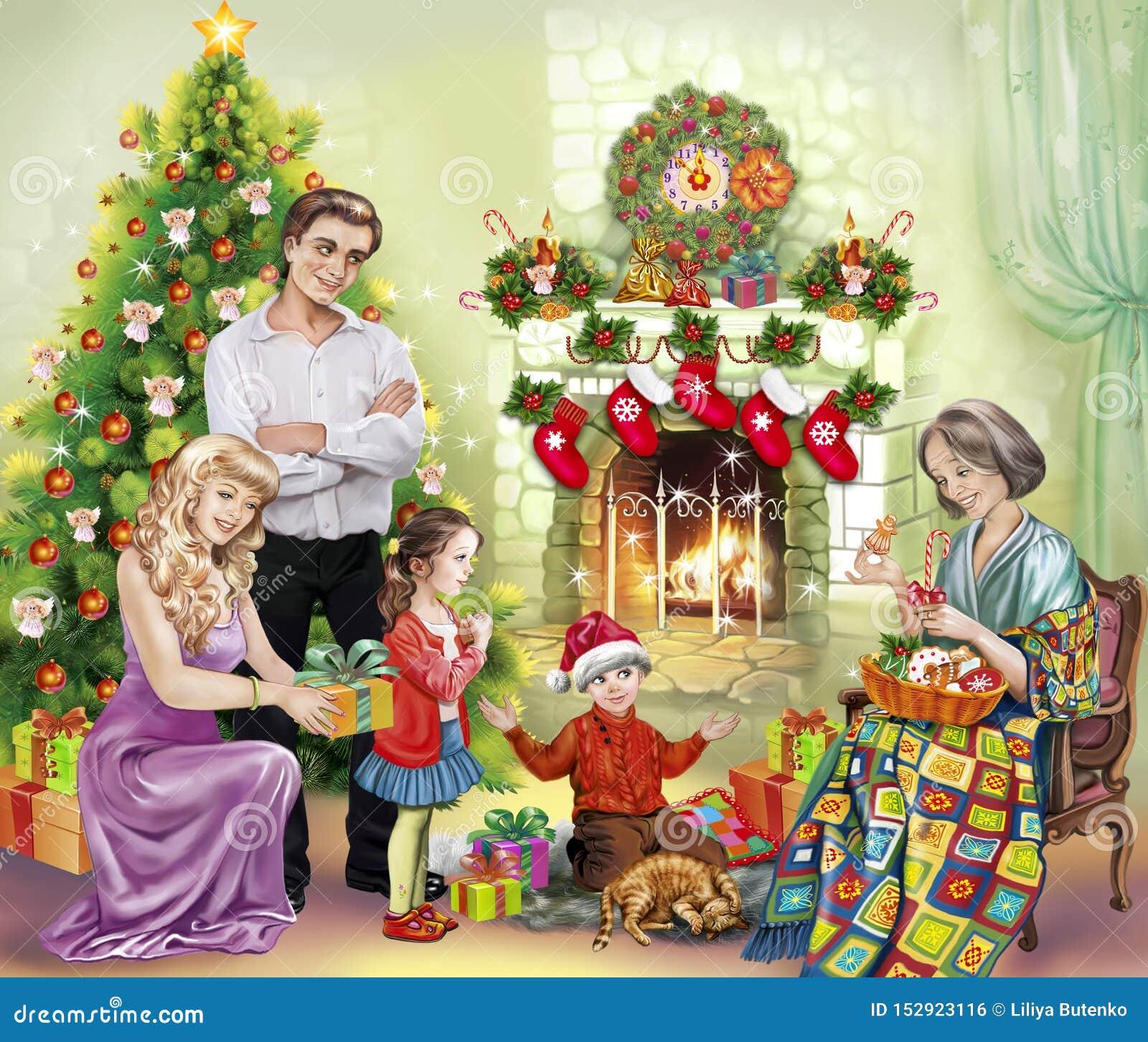 La familia recolectó en la chimenea con los presentes para la Navidad