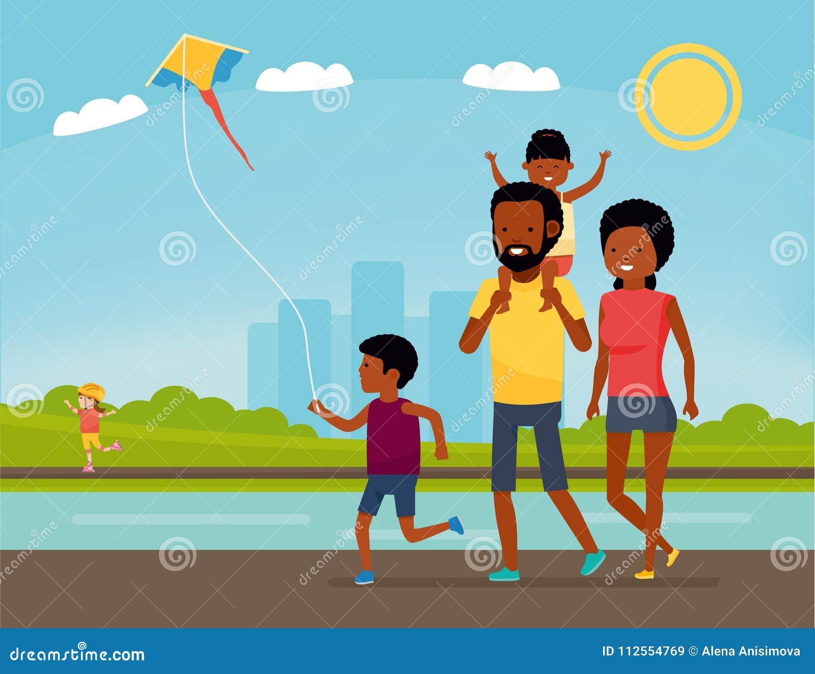 La familia se está divirtiendo en una naturaleza Familia del afroamericano en el parque Vacaciones de verano Ilustración del vect
