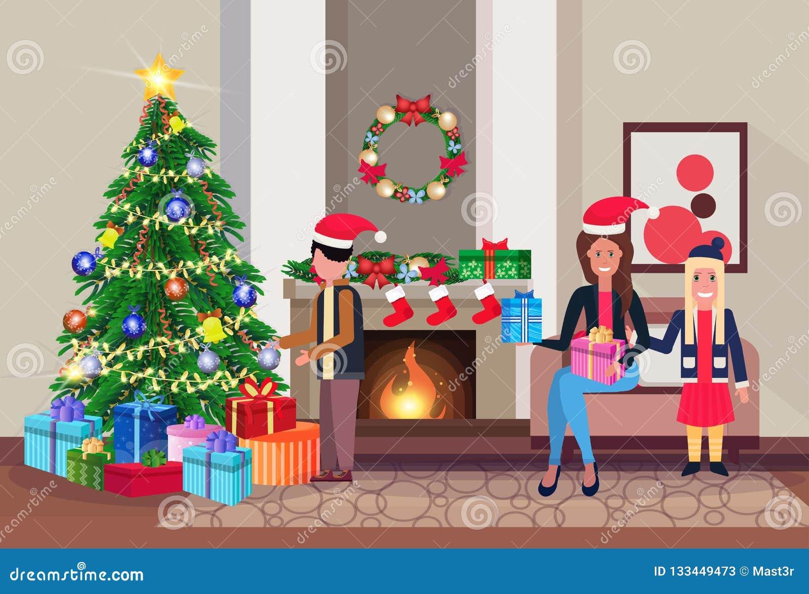 La famille décorent des vacances d hiver de décoration intérieure de maison de cheminée de salon de bonne année de Joyeux Noël de