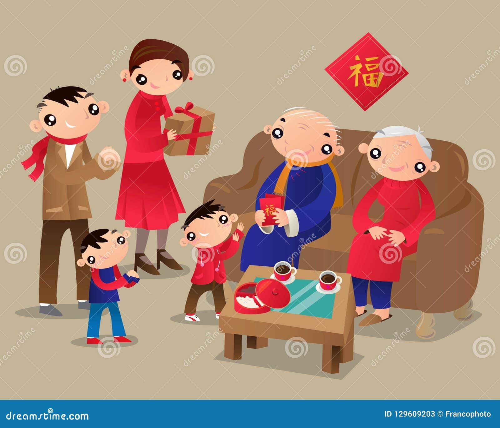 La famille de Hong Kong visite la maison des parents pendant le festival chinois de nouvelle année
