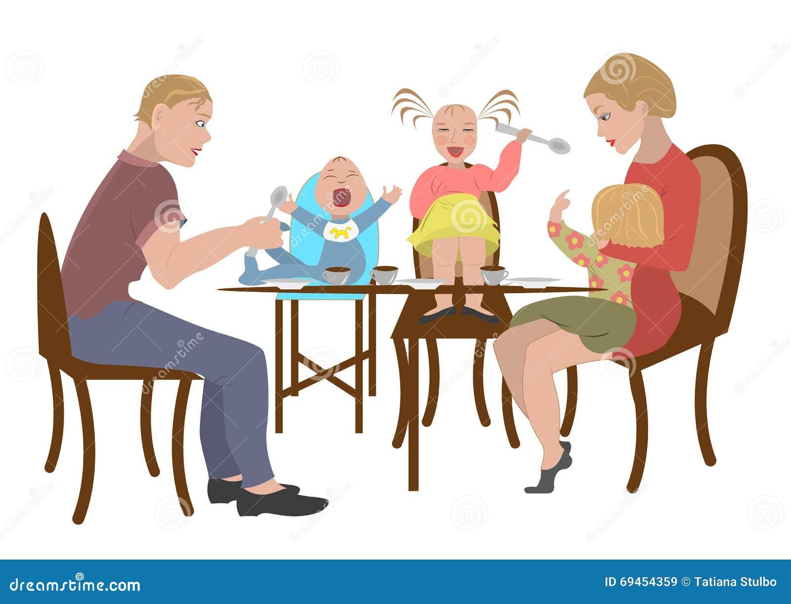 La Famille Mange Dans Un Restaurant Illustration de ...