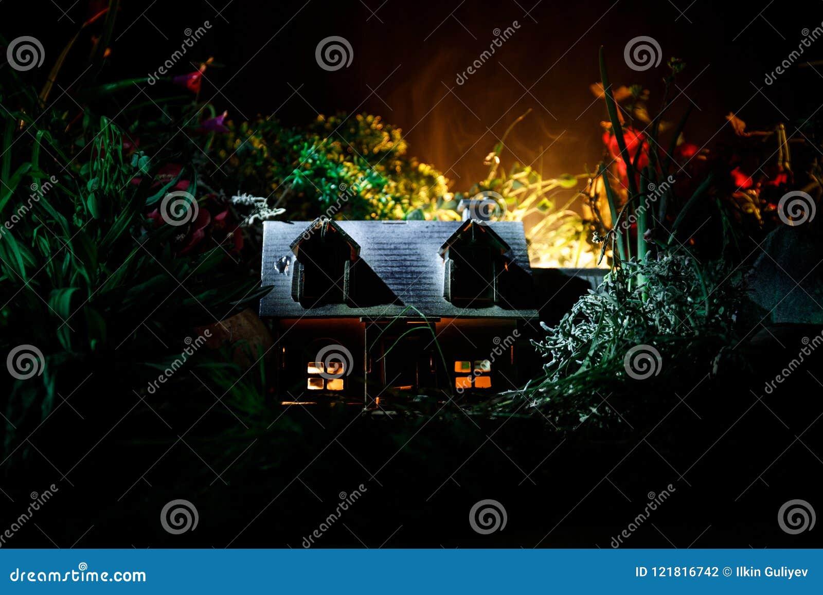 La fantasía adornó la foto Pequeña casa hermosa en hierba con la luz Casa vieja en bosque en la noche con la luna Foco selectivo