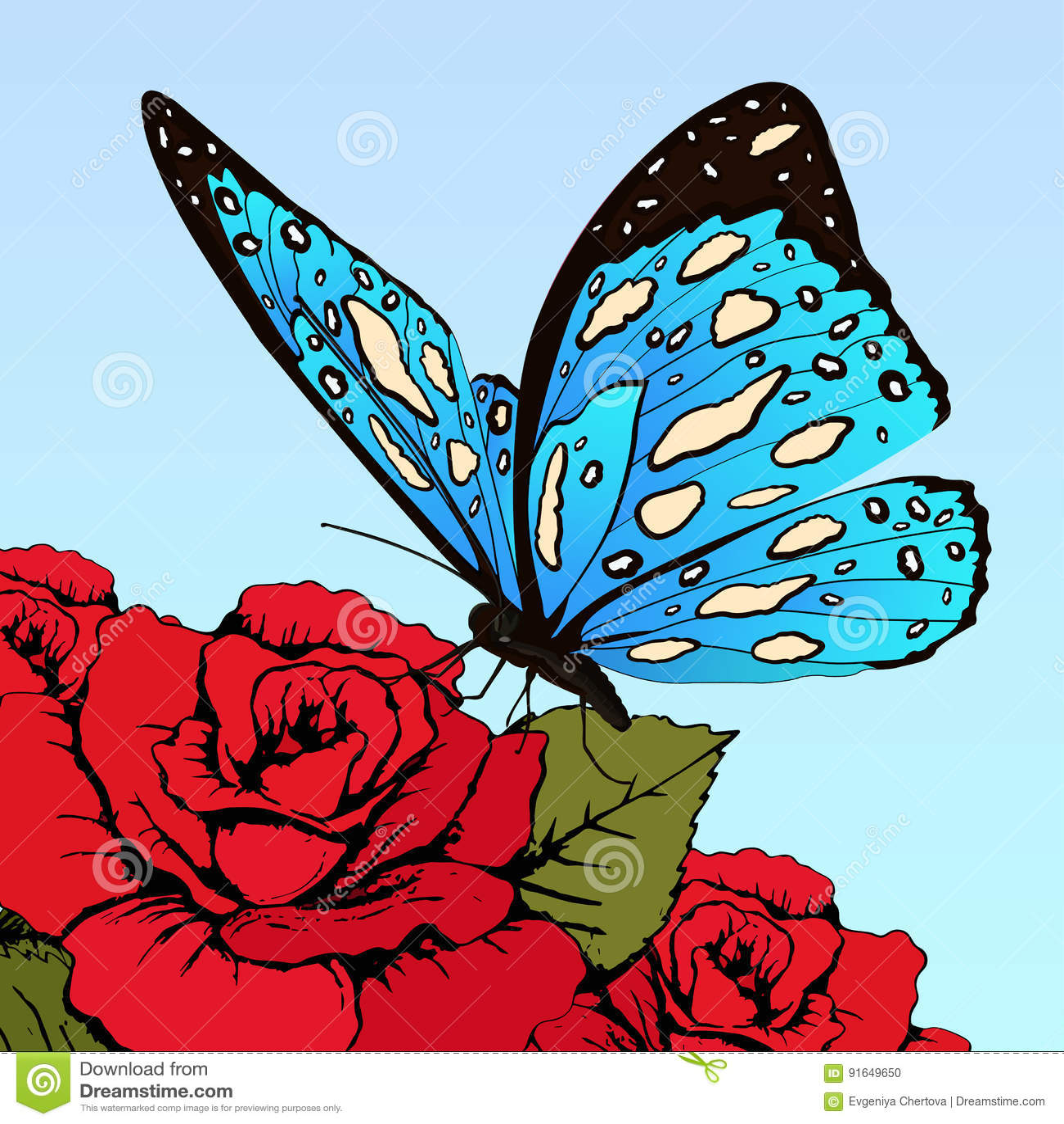 La farfalla con il blu ha macchiato le ali sui fiori delle rose rosse su un fondo del cielo blu, insegna di vettore, carta, manif