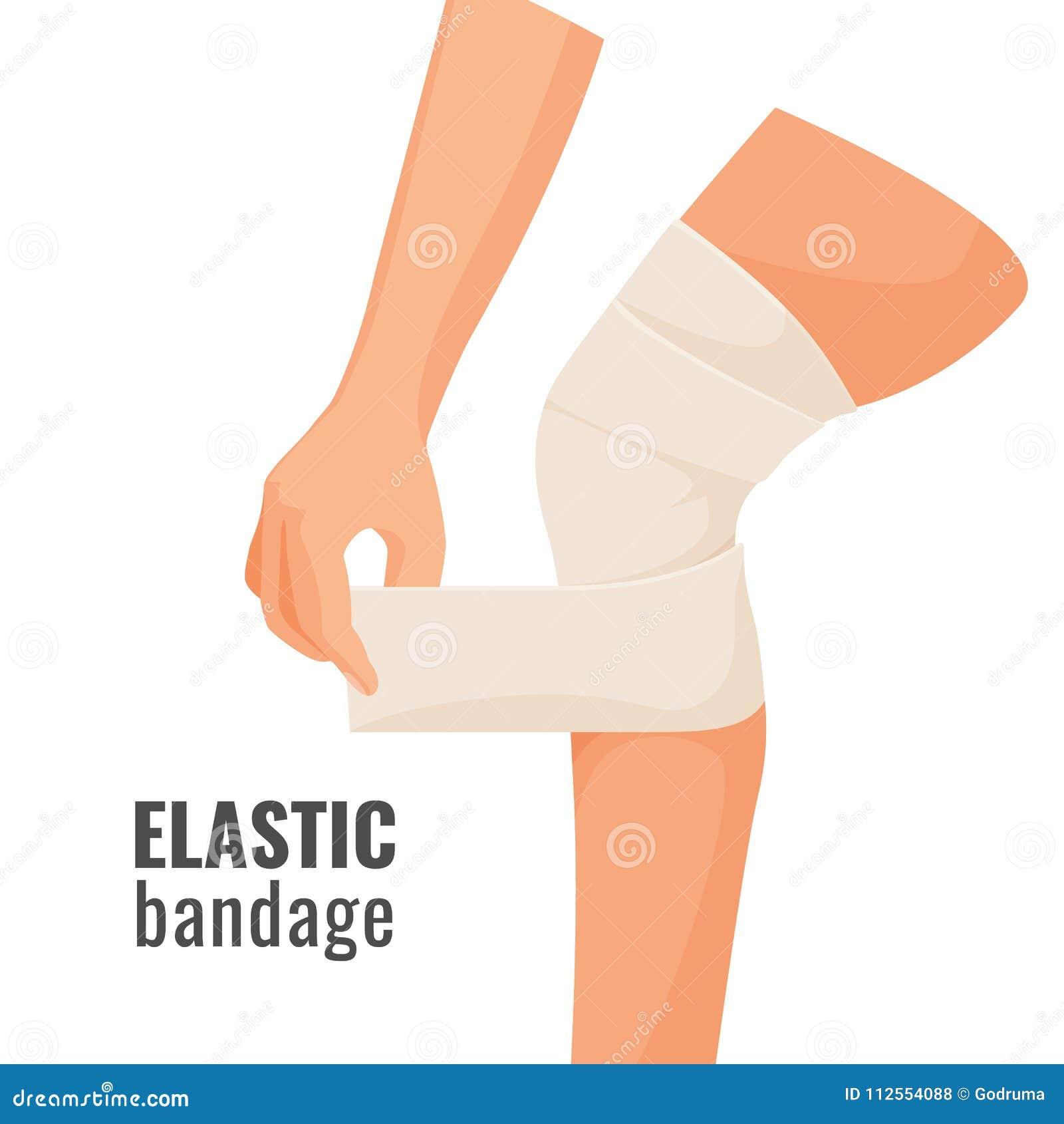 La fasciatura elastica sulla gamba di ferita dell essere umano ha isolato l illustrazione