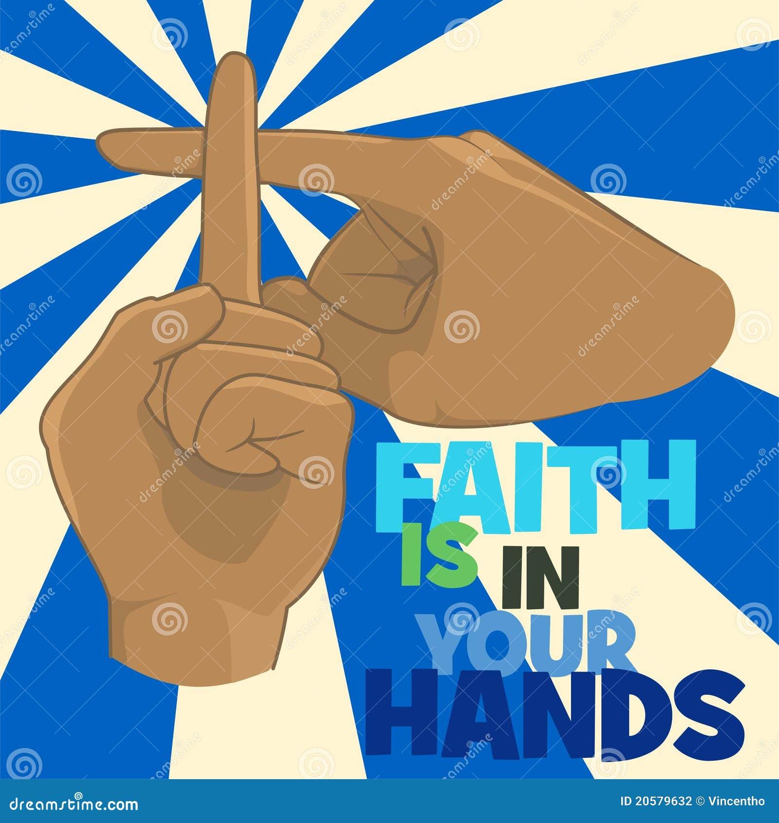 La fe está en su concepto de diseño del cristianismo de las manos