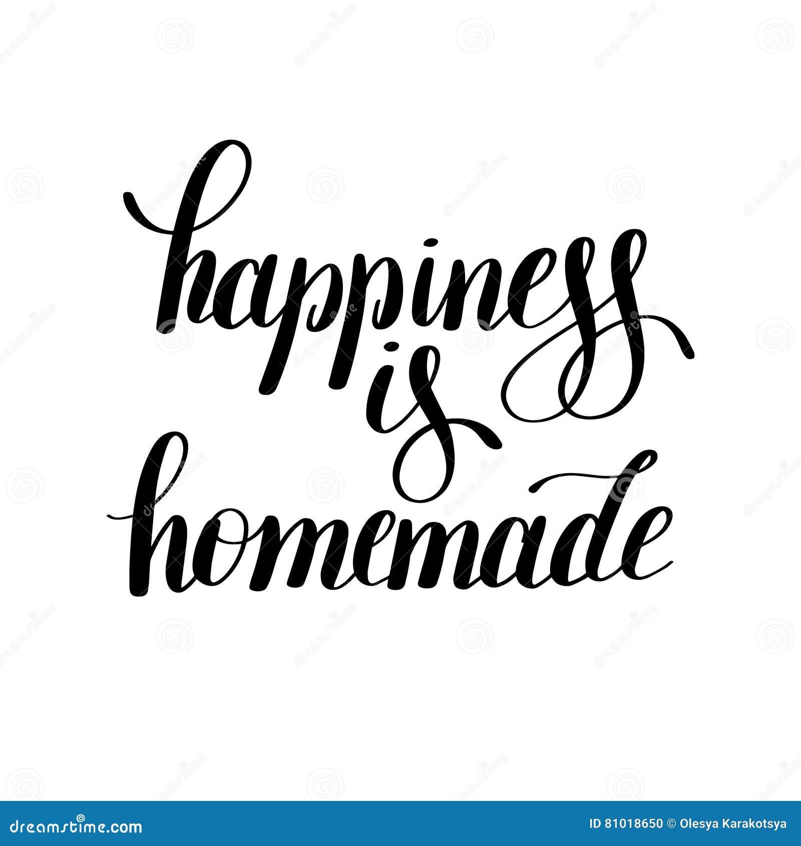 La felicidad es cita inspirada positiva manuscrita hecha en casa