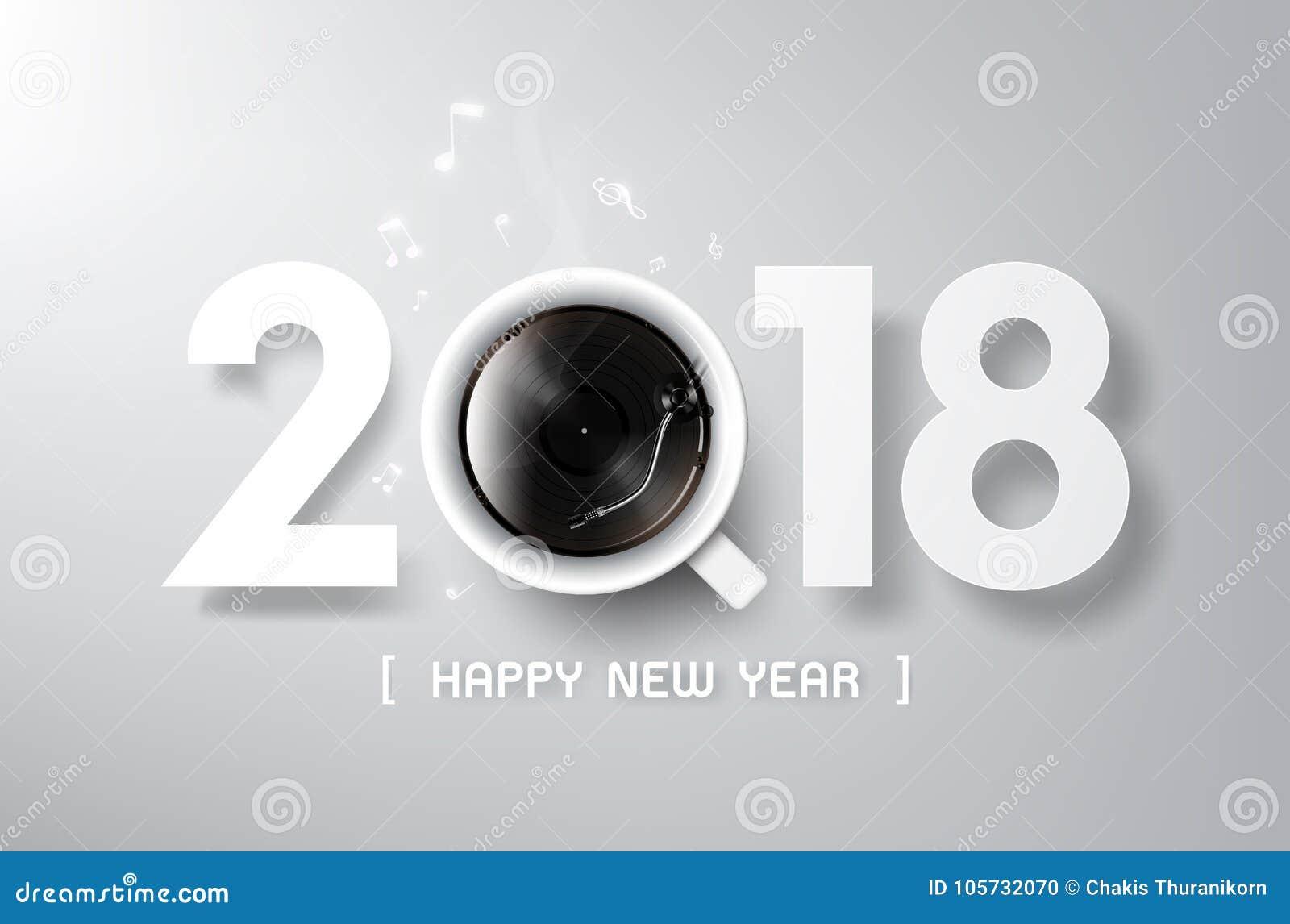 La Feliz Ano Nuevo 2018 Con El Juego Del Cafe Y Del Vinilo Relaja