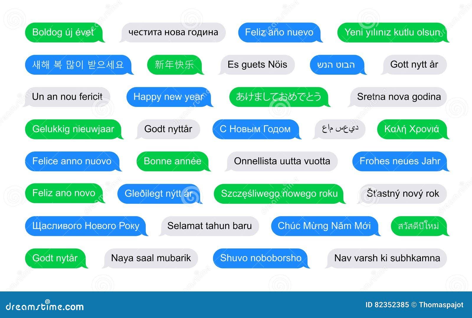 La Feliz Año Nuevo En Otros Idiomas En Sms Burbujea