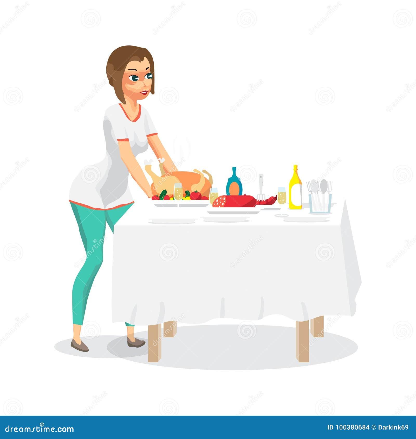La femme au foyer de jeune femme place un dîner de fête sur la table Le gi