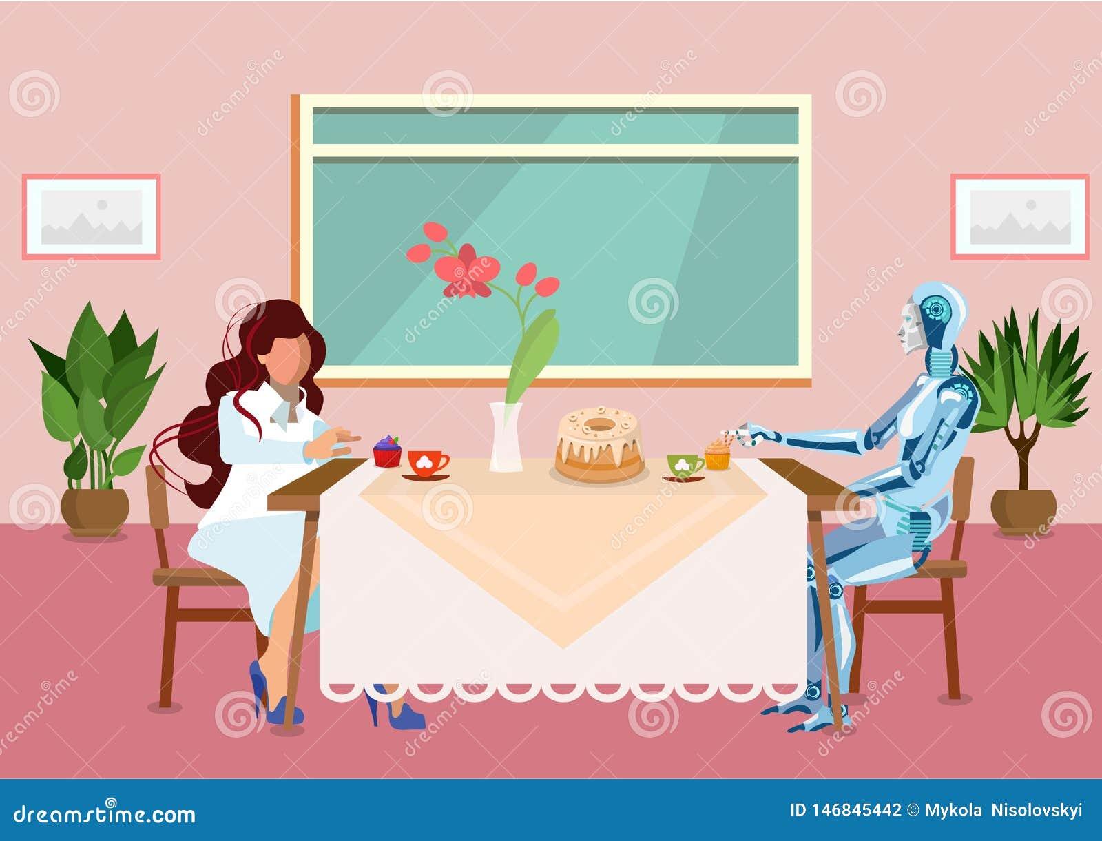 La femme boit du thé avec l illustration plate de cyborg