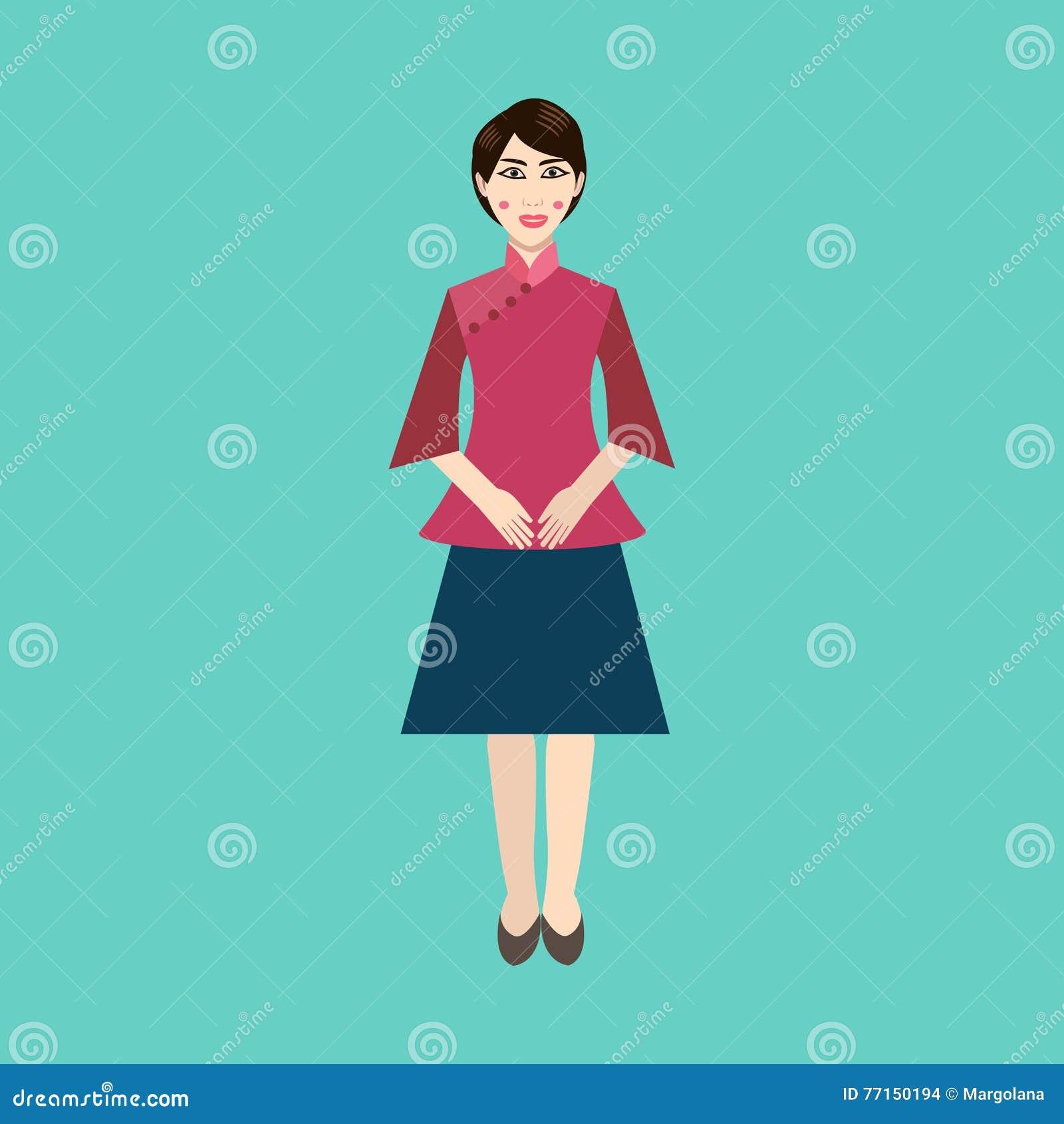 La femme chinoise dans le ressortissant vêtx l icône plate