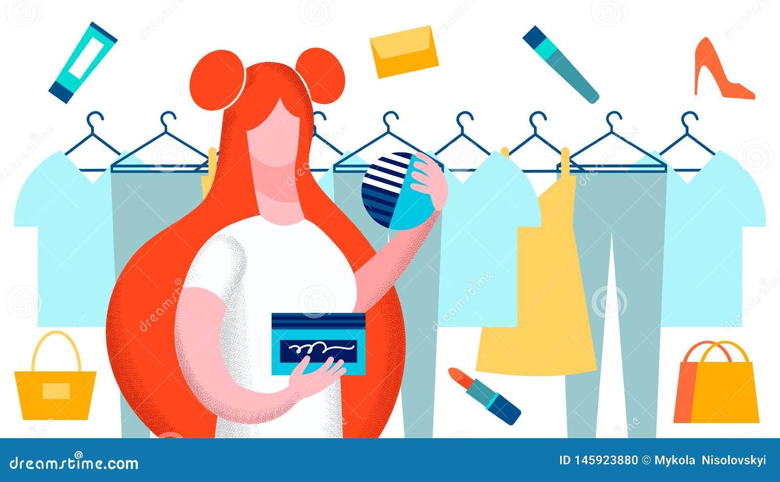 La femme choisissant des vêtements dirigent l illustration plate