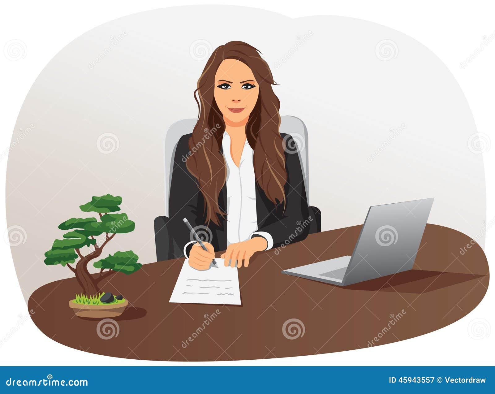 La femme d affaires écrit le document