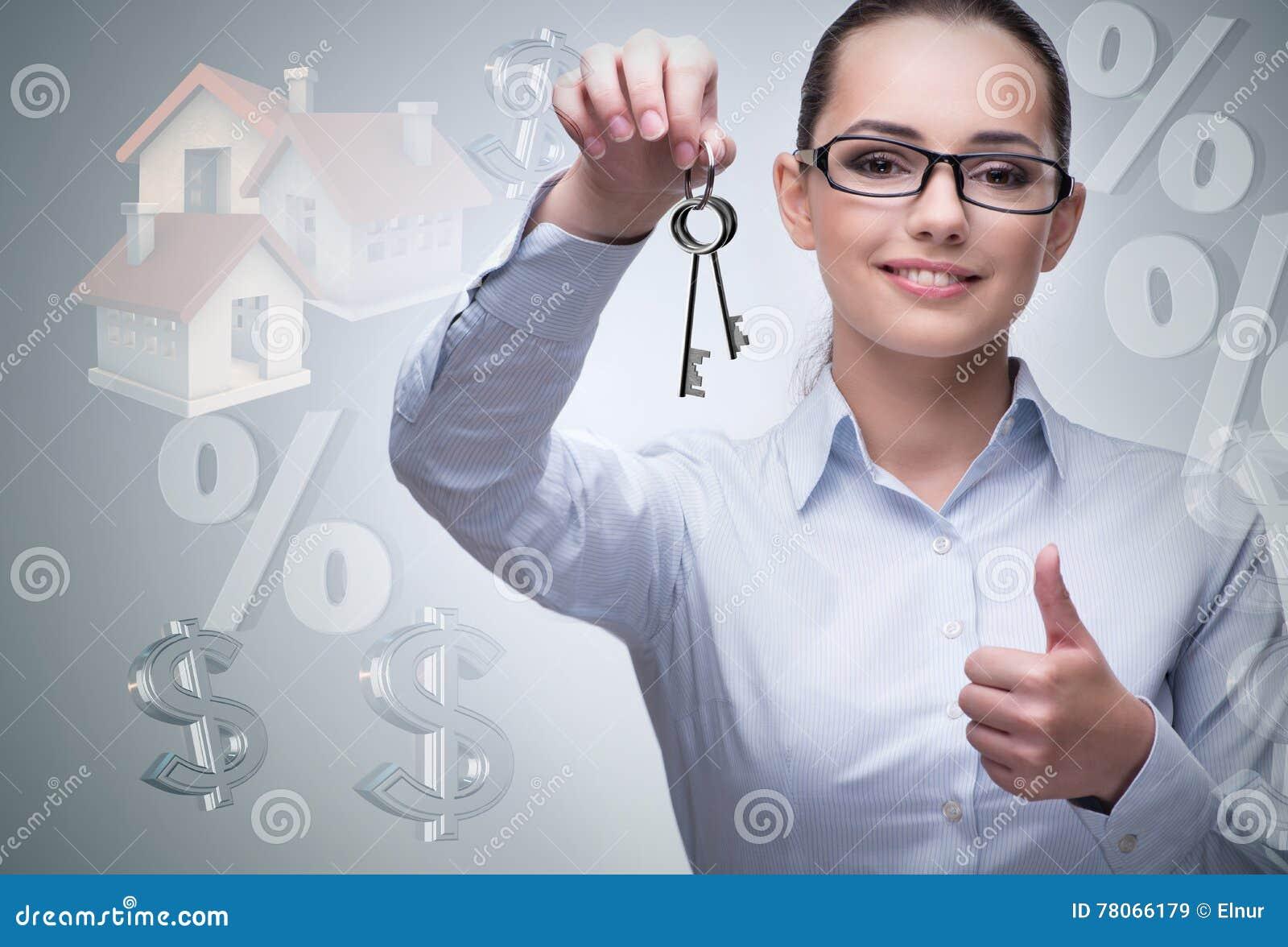 La femme d affaires dans le concept d hypothèque immobilière
