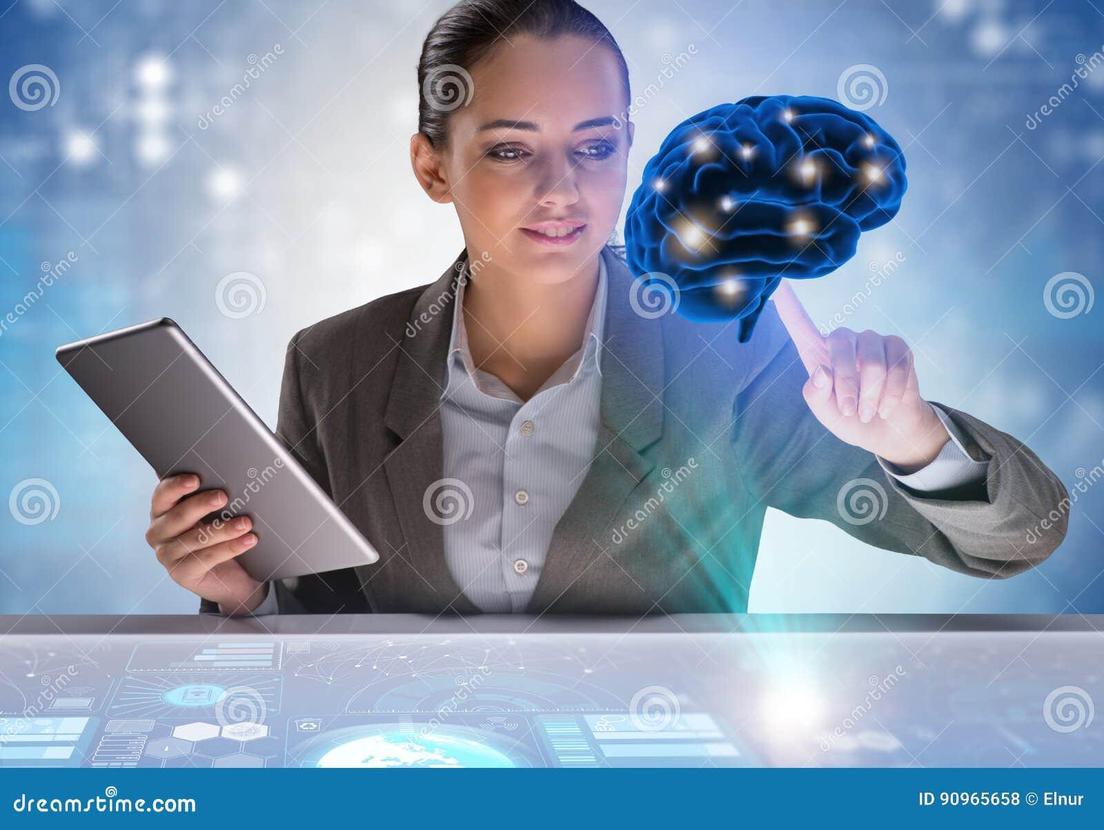 La femme d affaires dans le concept d intelligence artificielle