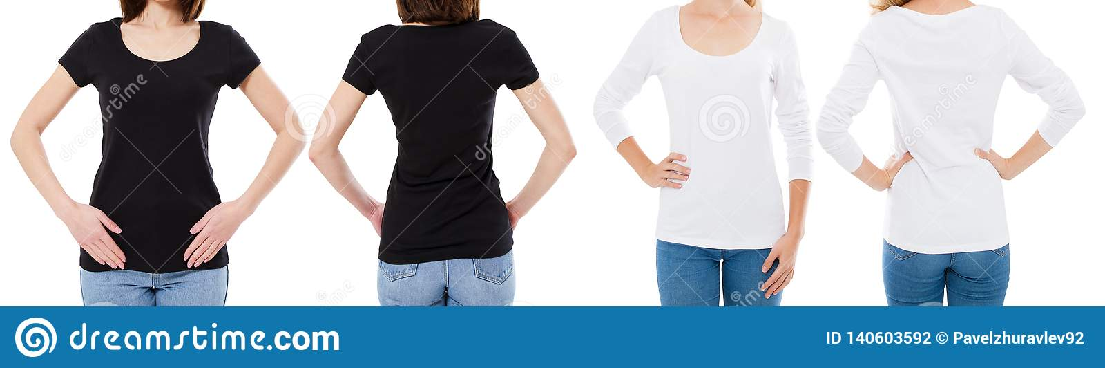La femme dans le T-shirt blanc et noir a isolé les options de T-shirt de blanc d image de Front And Rear Views Cropped, fille dan
