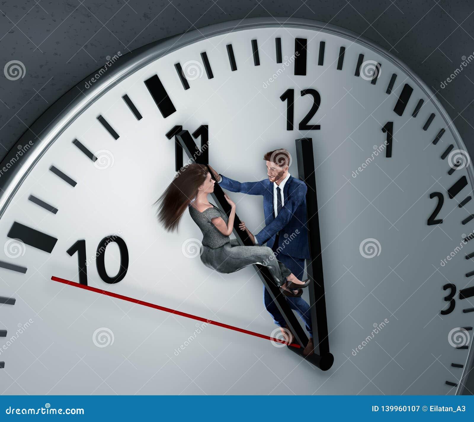 La femme et l homme luttent pour plus de temps